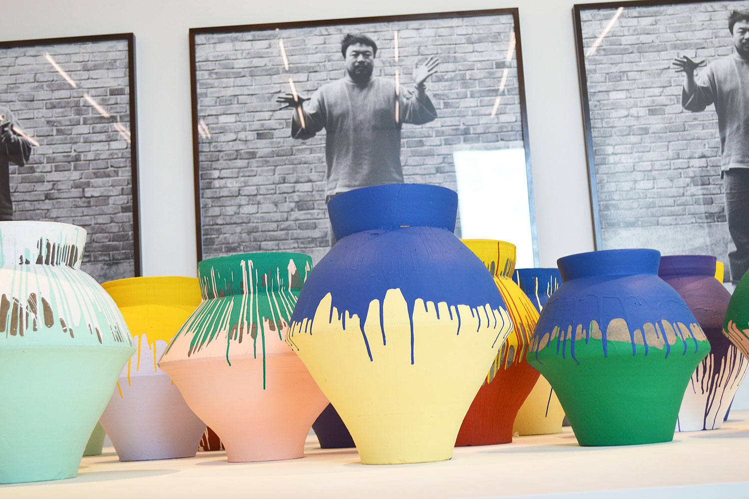 Chinese artist Ai Weiwei's  Colored Vases  are shown at the Perez Art Museum Miami, Florida in this Dec. 3, 2013 photo