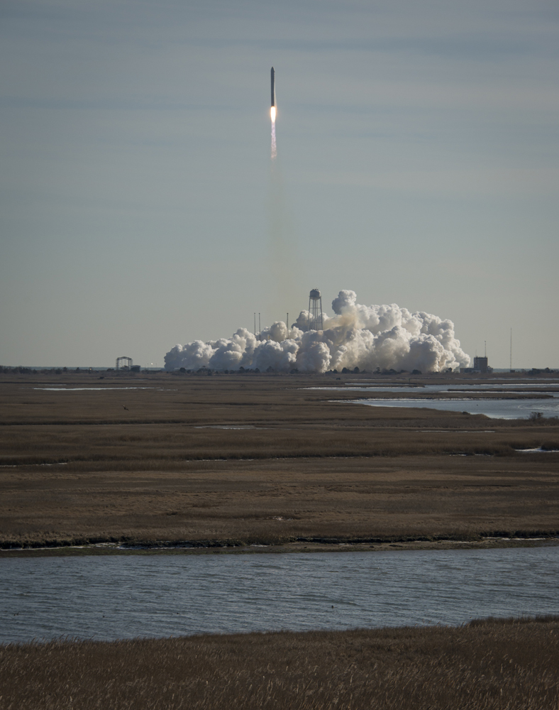 An Orbital Sciences Corporation Antares rocket launches from NASA's Wallops Flight Facility Jan. 9, 2014. Antares carried the Cygnus spacecraft in Orbital Sciences' first space station resupply mission for NASA.
