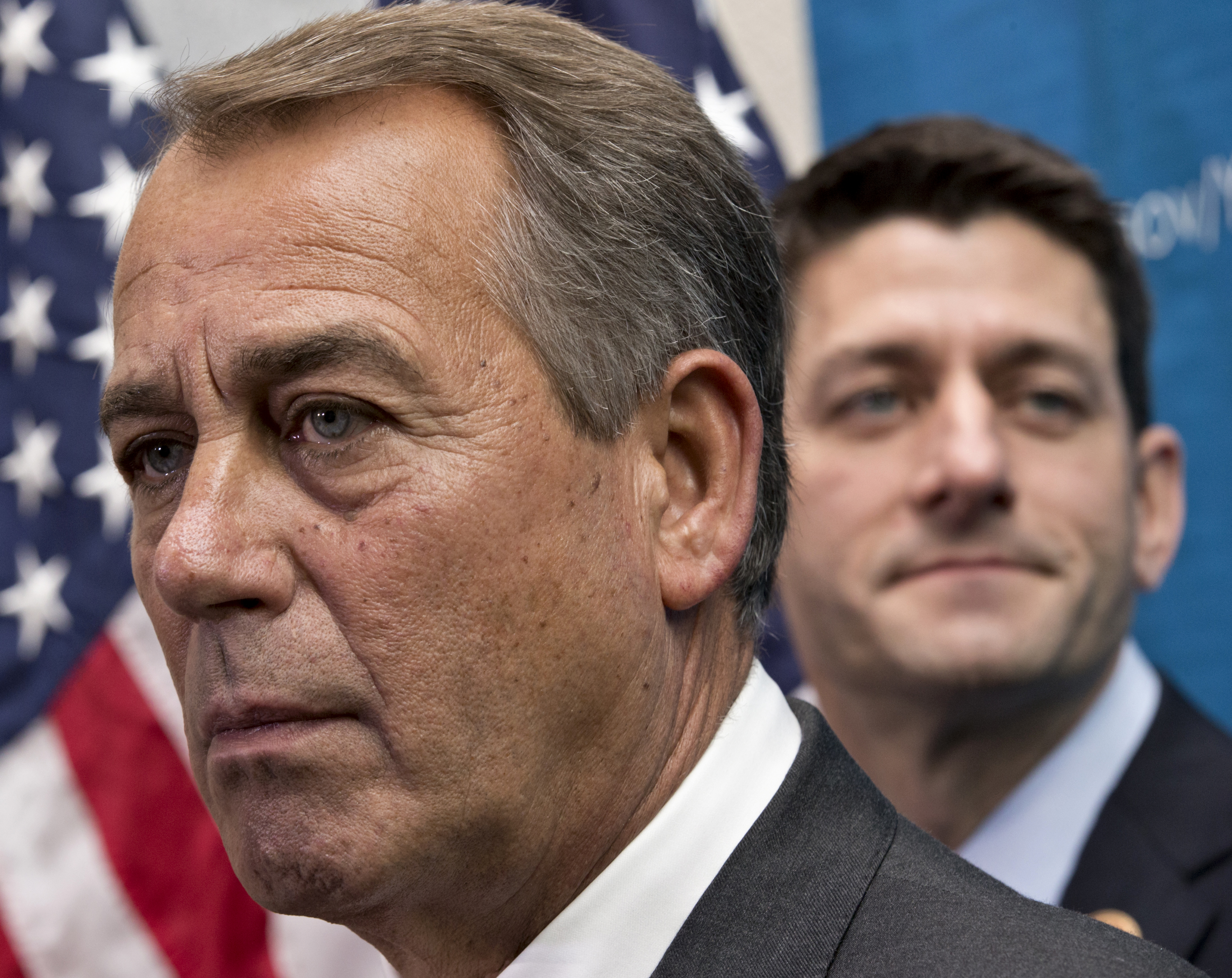 From left: House Speaker John Boehner of Ohio joined by House Budget Committee Chairman Rep. Paul Ryan takes reporters' questions, on Capitol Hill in Washington, D.C., on Dec. 11, 2013.