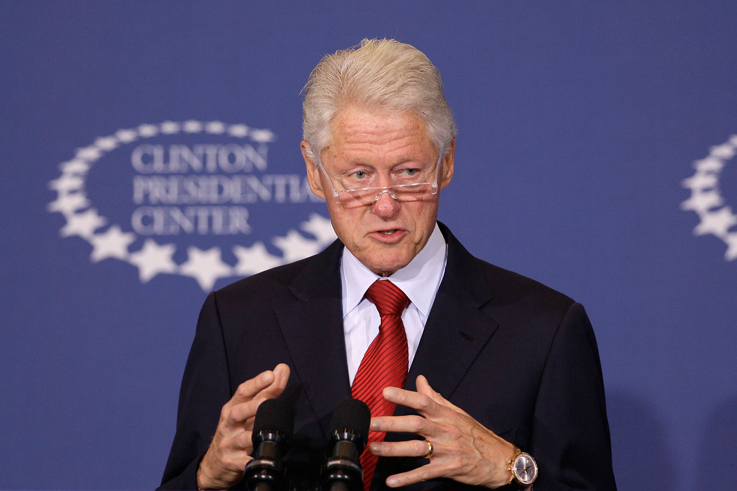 Former President Bill Clinton speaks about health care at the Clinton Presidential Center in Little Rock, Ark., Sept. 4, 2013.