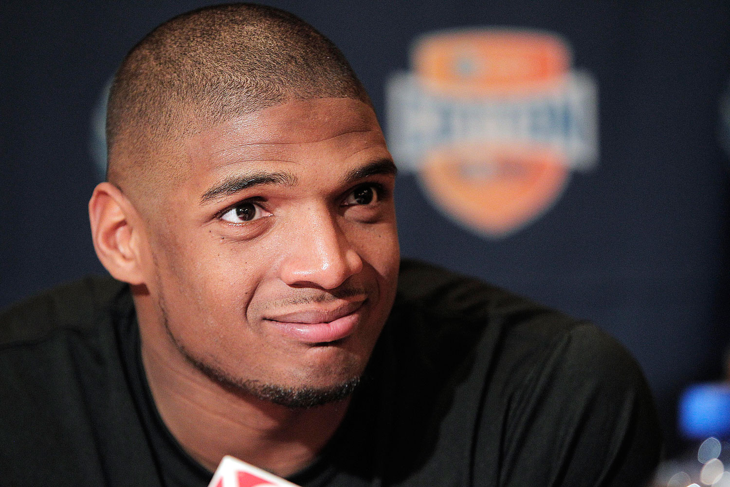 Missouri senior defensive lineman Michael Sam speaks to the media during an NCAA college football news conference, Wednesday, Jan. 1, 2014, in Irving, Texas.