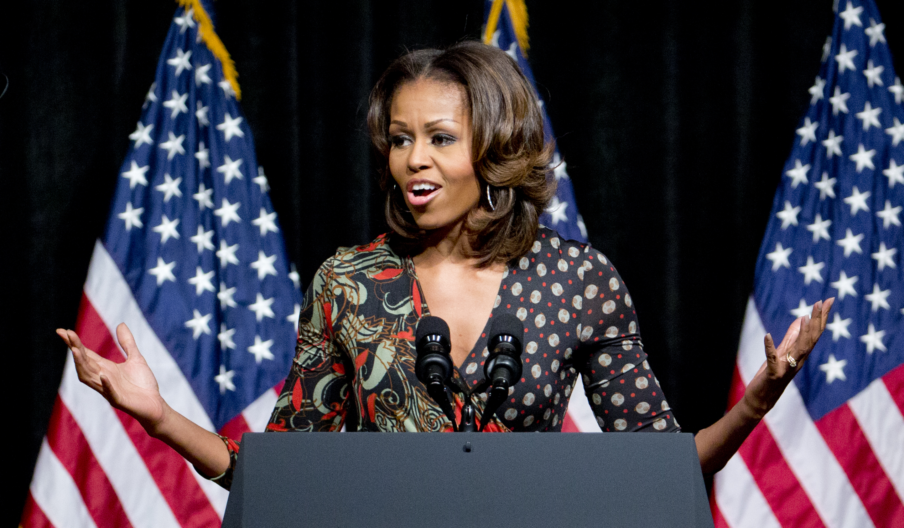 U.S. First lady Michelle Obama speaks to students at Bell Multicultural High School in Washington, D.C., on Nov. 11, 2013.
