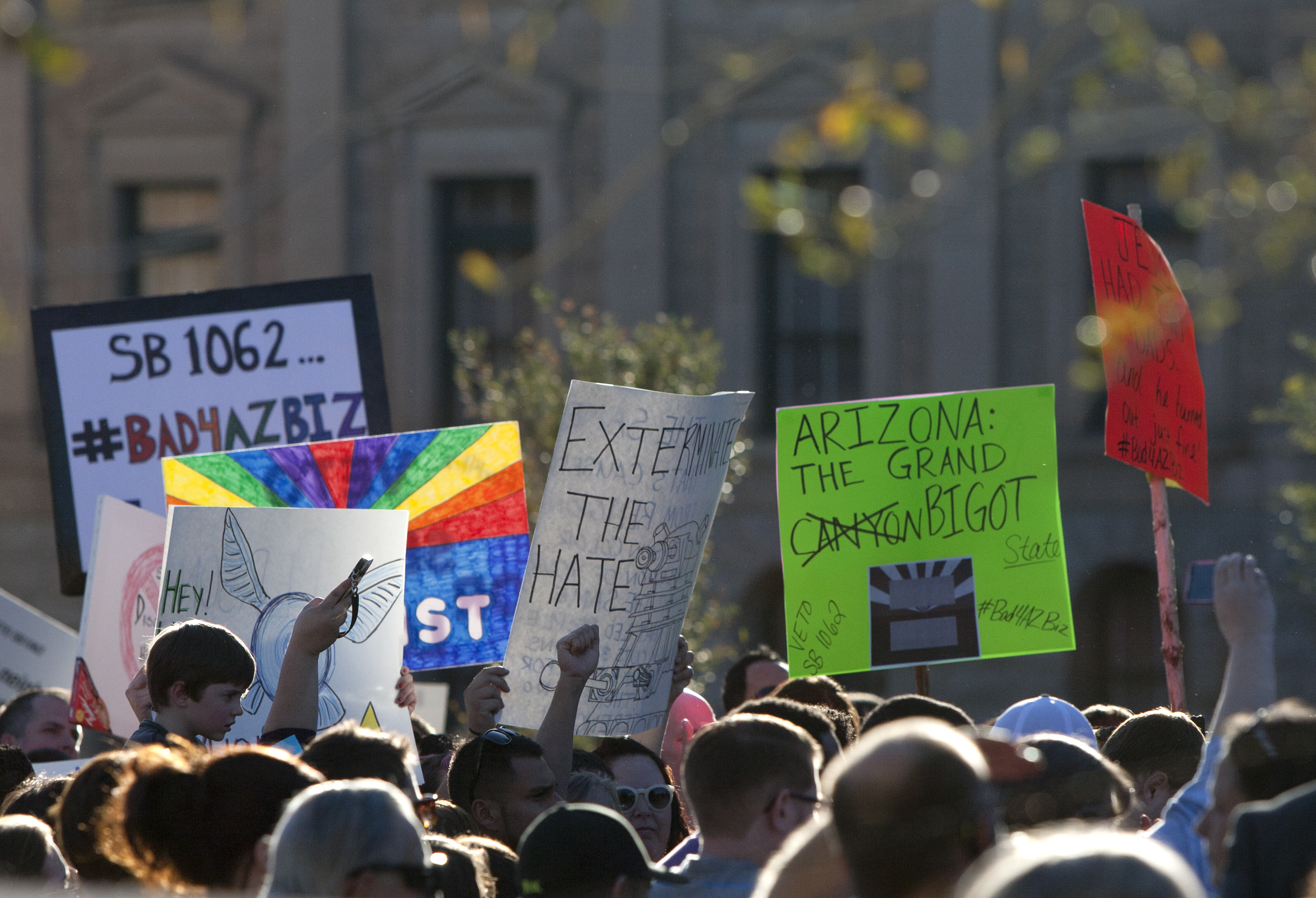 Opponents of the SB1062 urged Gov. Brewer to veto the bill during a protest rally at the state capitol, Friday, Feb. 21, 2014.