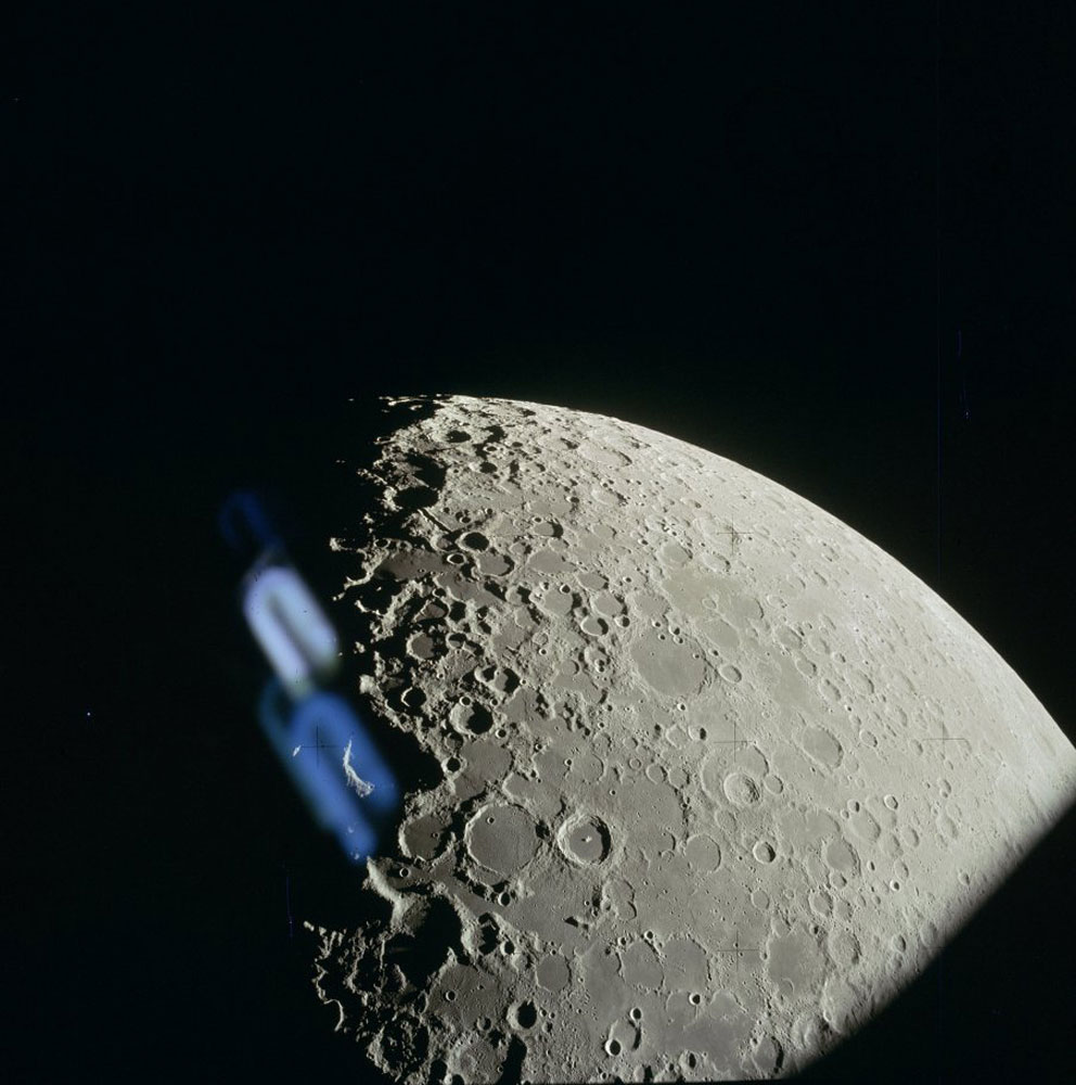 The lunar surface from a high, non-orbital altitude.