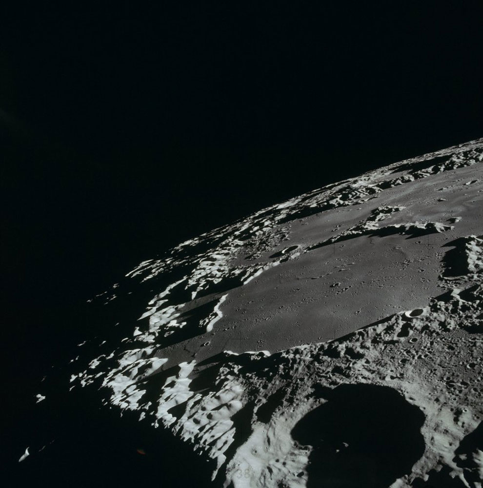From lunar orbit, Thomson Crater in the Sea of Ingenuity.