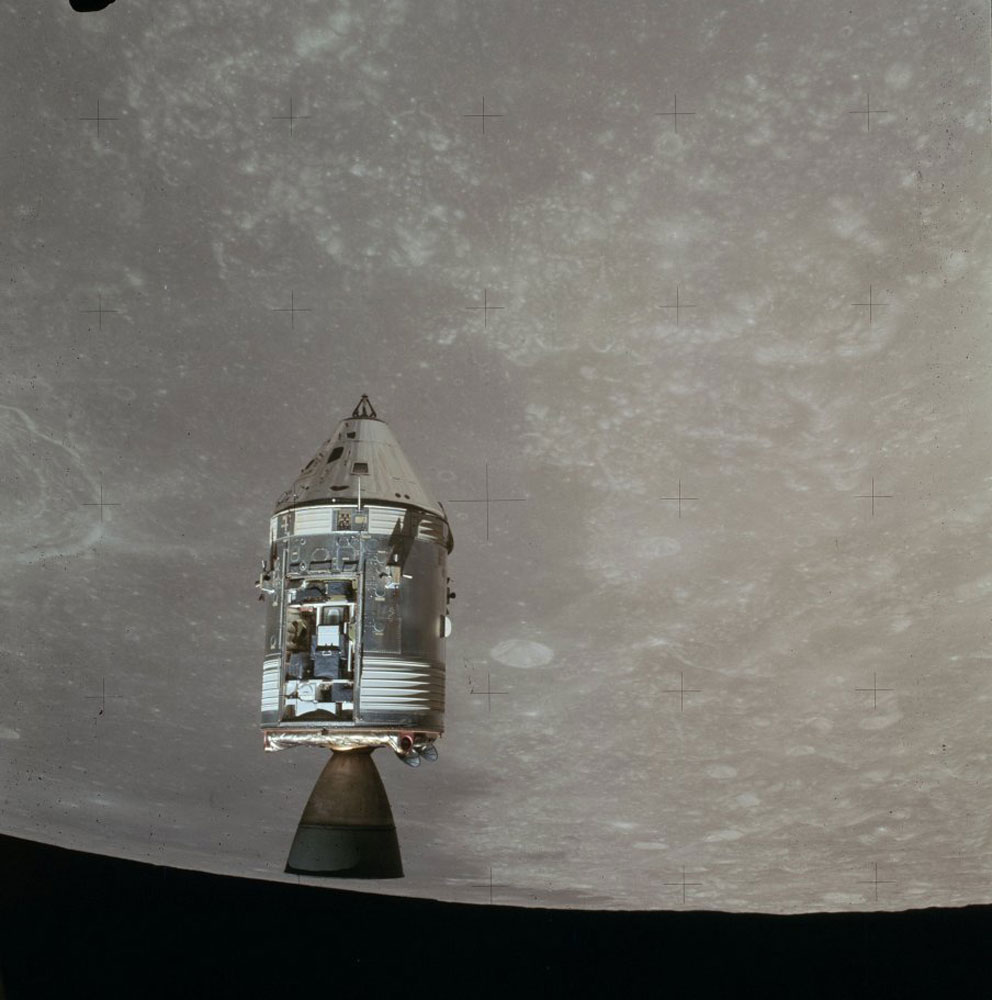 The command/service module—which remained in orbit above the moon and was the astronauts' only ride home—had its own open equipment bay, which contained instruments and cameras to study and photograph the moon and its environment.