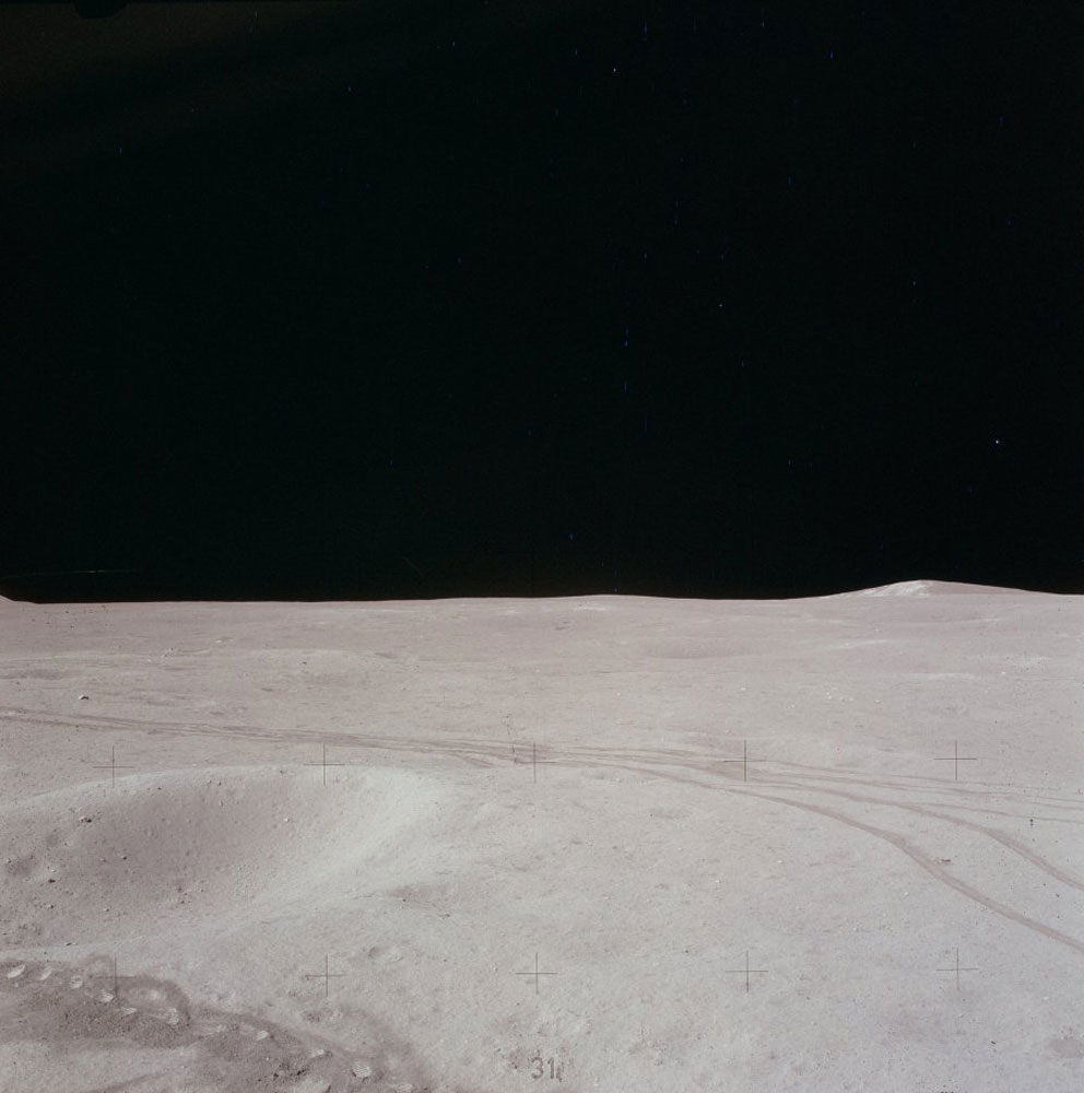 A view of the lunar nothingness—what Buzz Aldrin lyrically called  magnificent desolation.