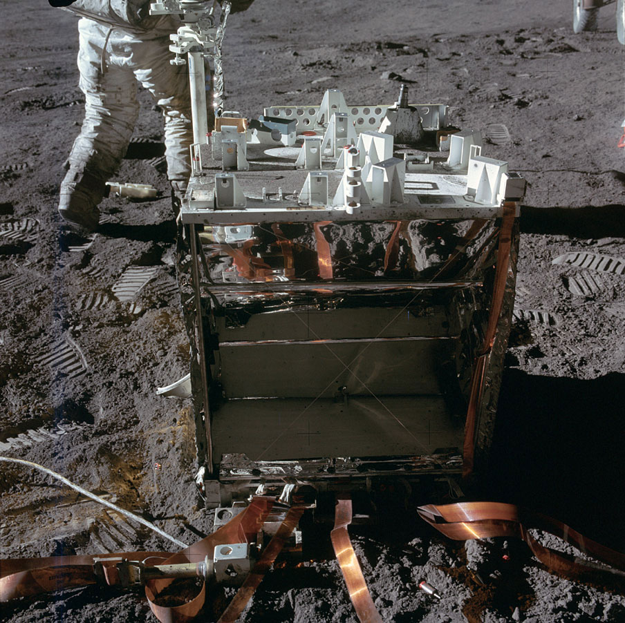 Every Apollo crew deployed what was known as an Apollo Lunar Surface Experiments Package (ALSEP) which, as the name suggests, was an array of various sensors and instruments. Each was connected to a central station, pictured here. A stray bolt and other debris littered the ground nearby.