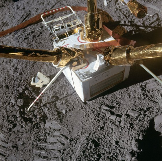 Close-up of the top of the lunar surface magnetometer, which was used to measure the moon's magnetic activity.