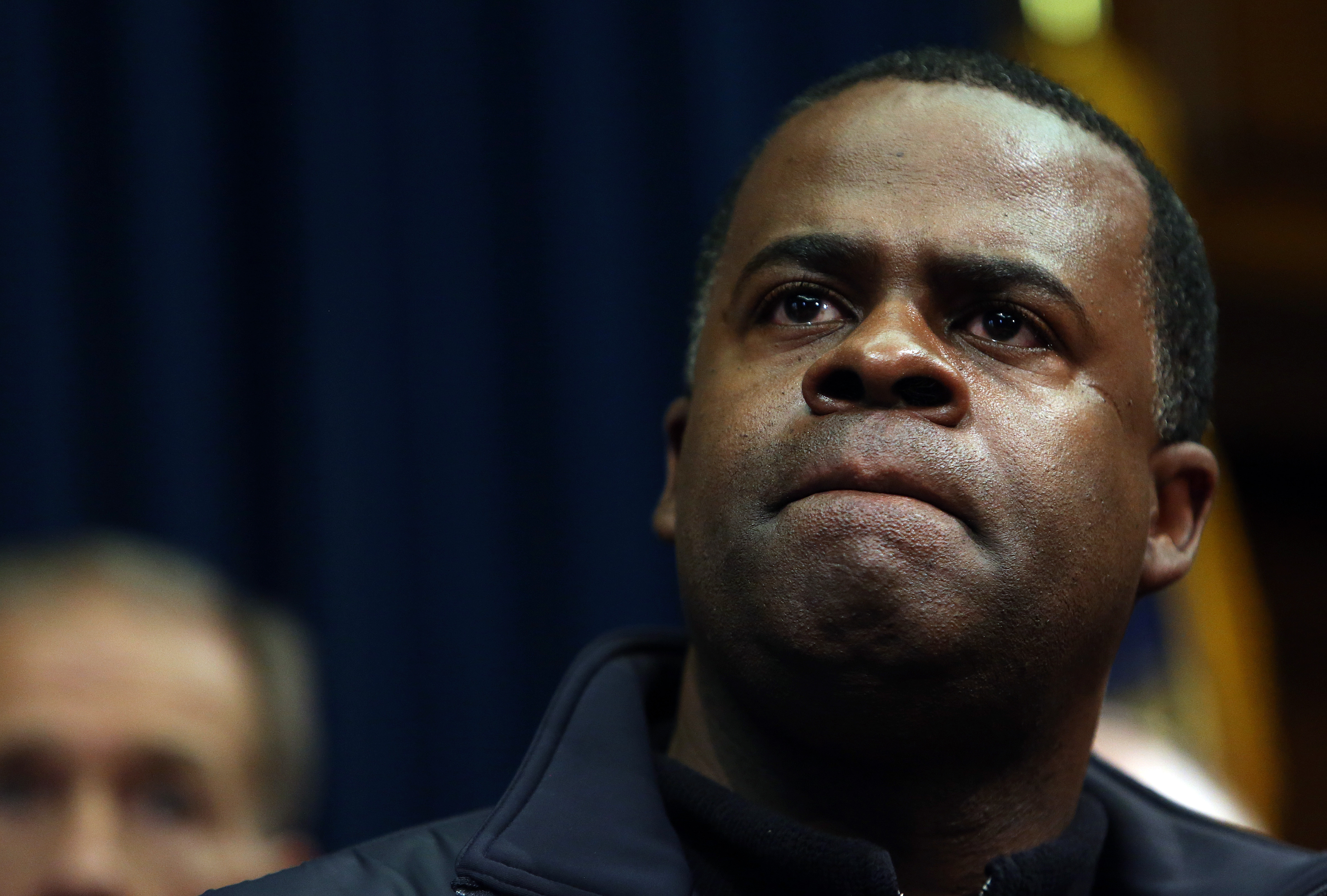 Atlanta Mayor Kasim Reed listens to a question about the city's response to the snow storm during a news conference Wednesday, Jan. 29, 2014 in the Governor's office at the State Capitol in Atlanta.