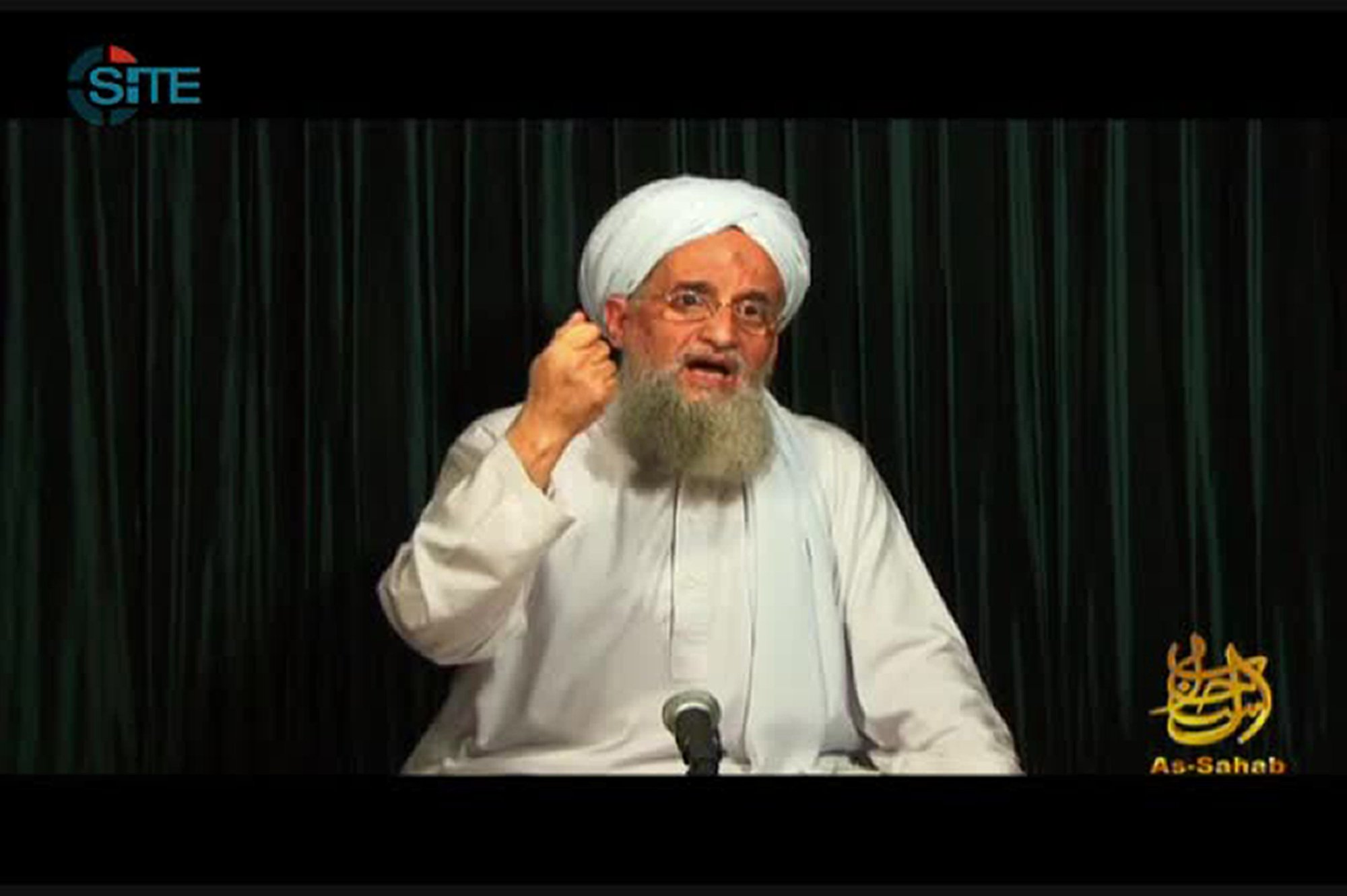 A still image from video obtained on Oct. 26, 2012 courtesy of the Site Intelligence Group showing Al-Qaeda leader Ayman al-Zawahiri speaking from an undisclosed location.