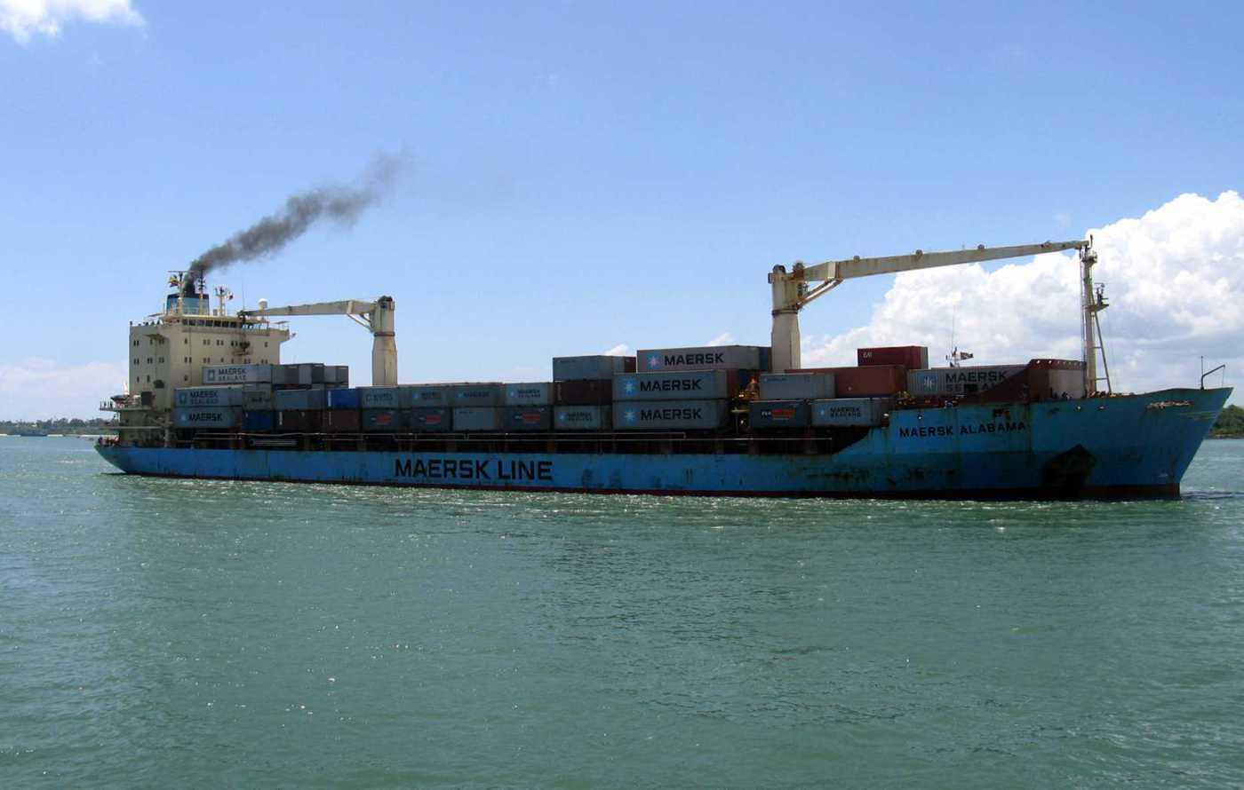 U.S.-flagged container ship, Maersk Alabama, sails into the Kenyan coastal sea port of Mombasa, Nov. 22, 2009.