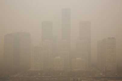 A general view of the pollution covered Beijing CBD on Feb. 25, 2014 in Beijing.