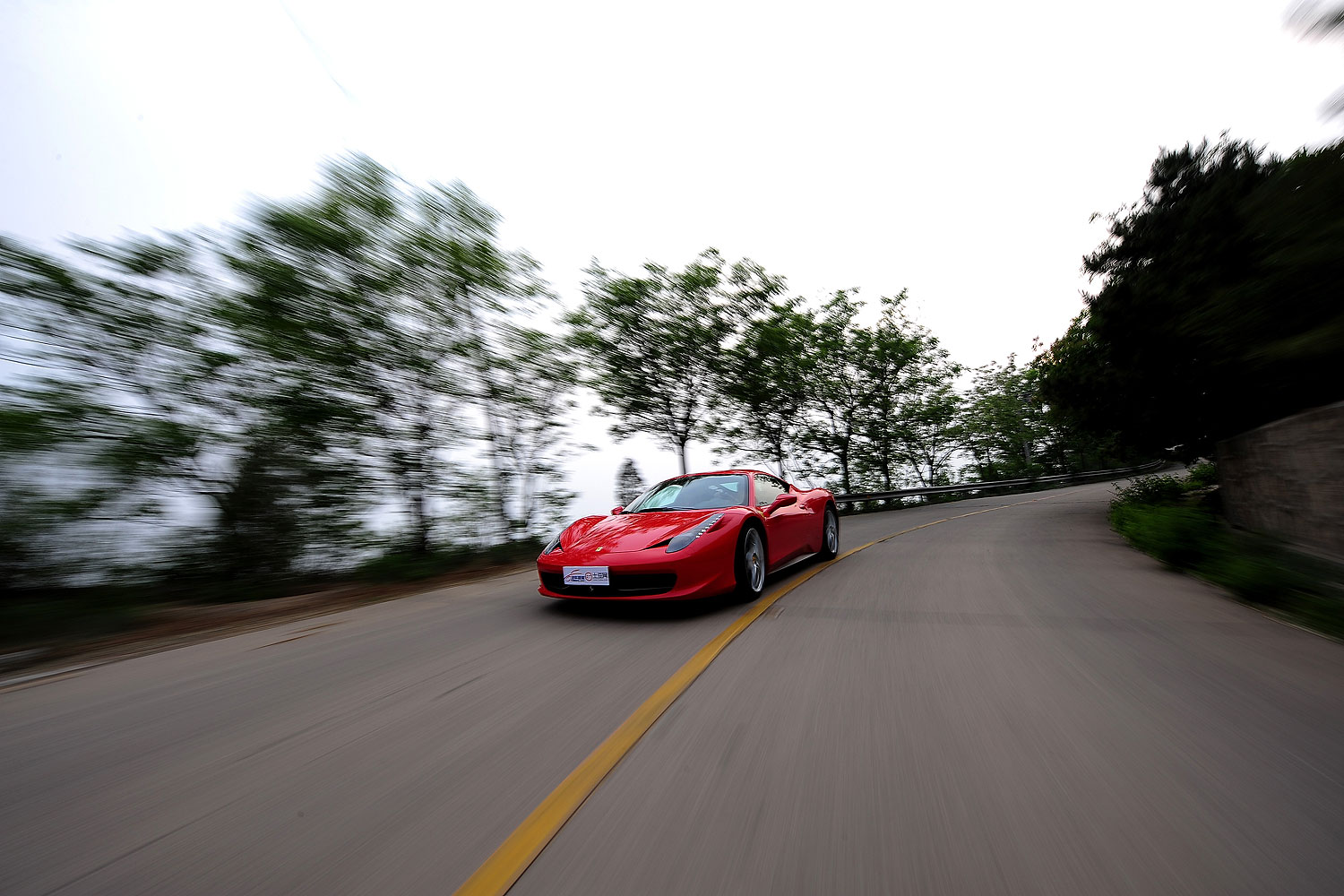 A Ferrari 458 Italia sports car is road tested in Beijing.