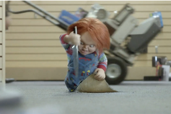 Chucky is one of many 1980's characters featured in RadioShack's Superbowl ad.