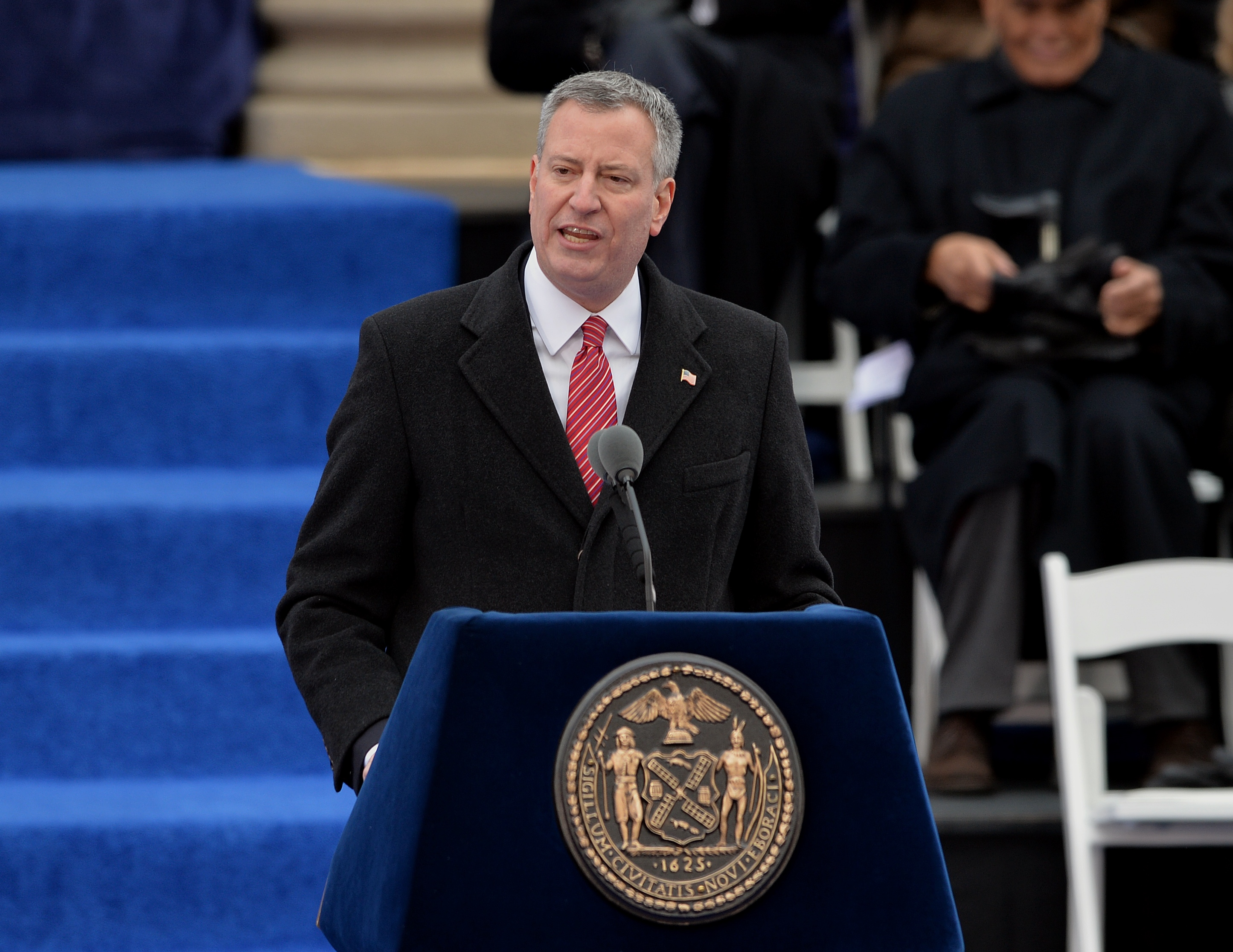 New York City Mayor Bill de Blasio speaks after being sworn in on the steps of City Hall in Lower Manhattan January 1, 2014 in New York.