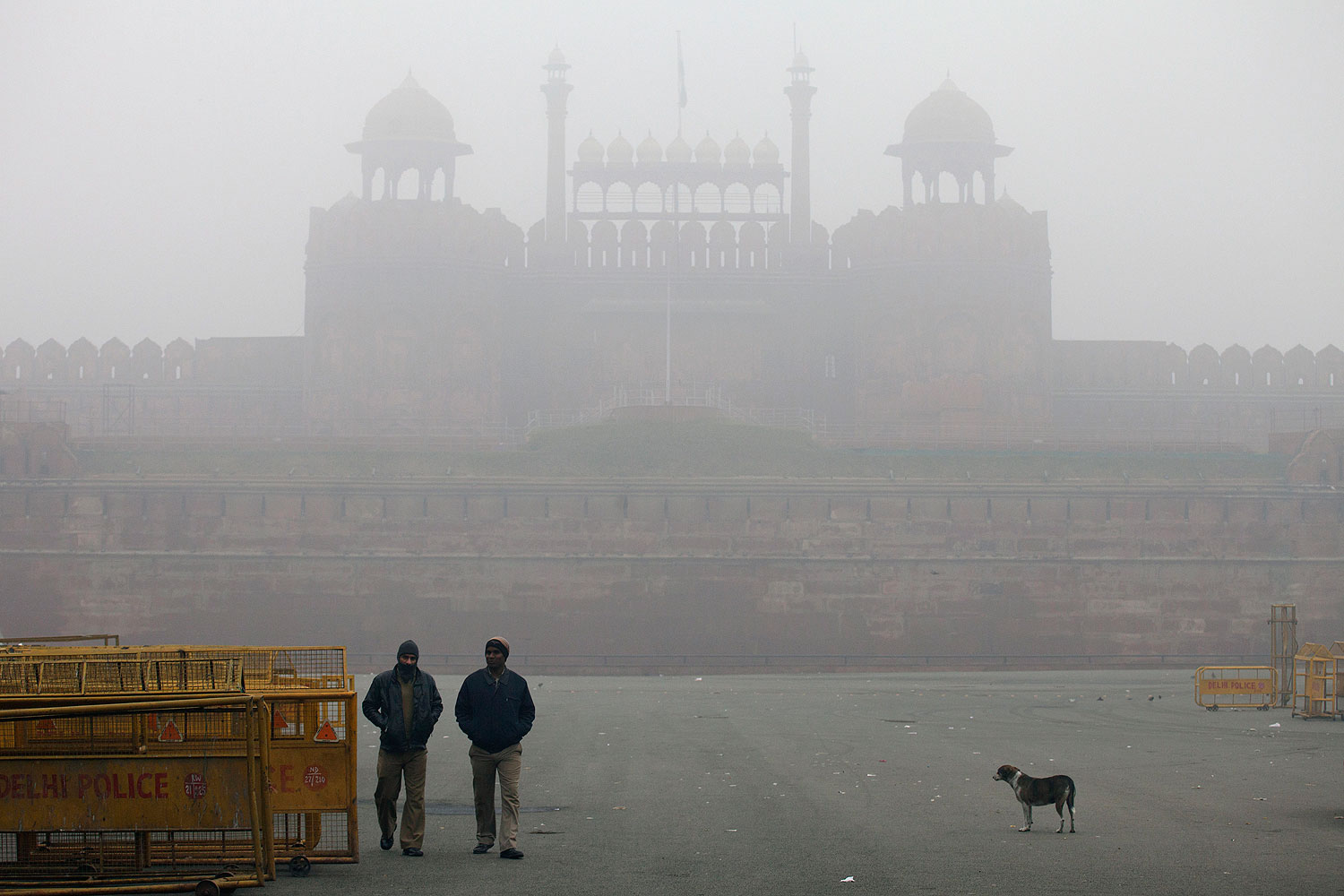 The Red Fort, in Delhi, is covered by haze mainly caused by air pollution on Jan. 20, 2014