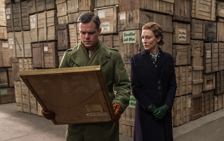 Matt Damon and Kate Blanchett in Columbia Pictures' The Monument's Men.
