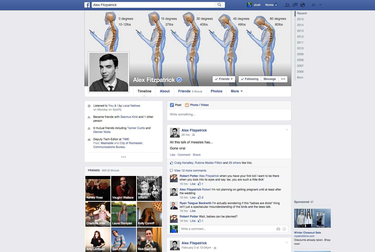 <strong> Facebook Profile Page, 2014-2015.</strong> Facebook updated both the newsfeed algorithm and the privacy settings.