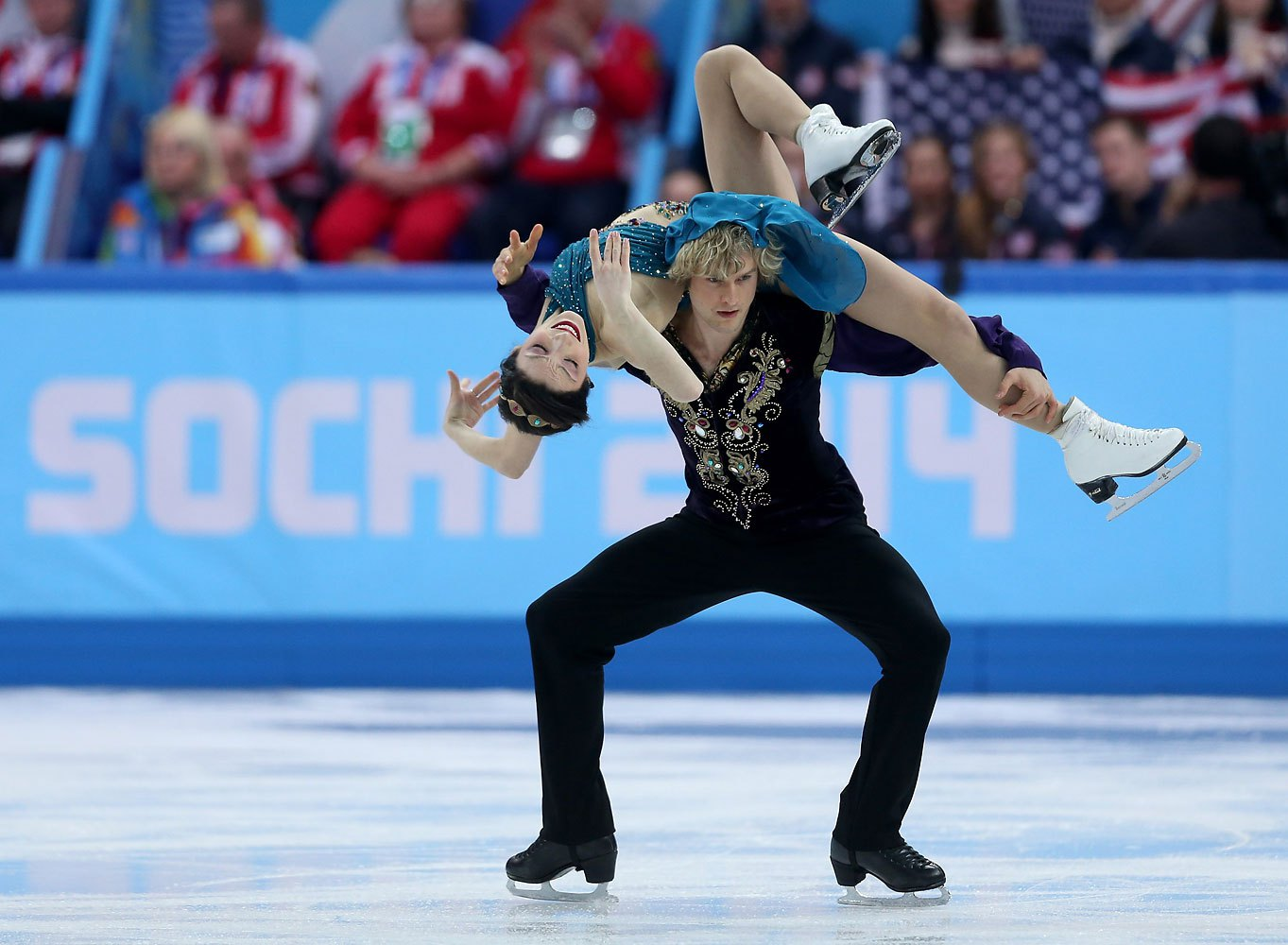 For their free skate in Sochi in the team event, ice dancers Meryl Davis and Charlie White competed as Scherazade, in teal, and the sultan.