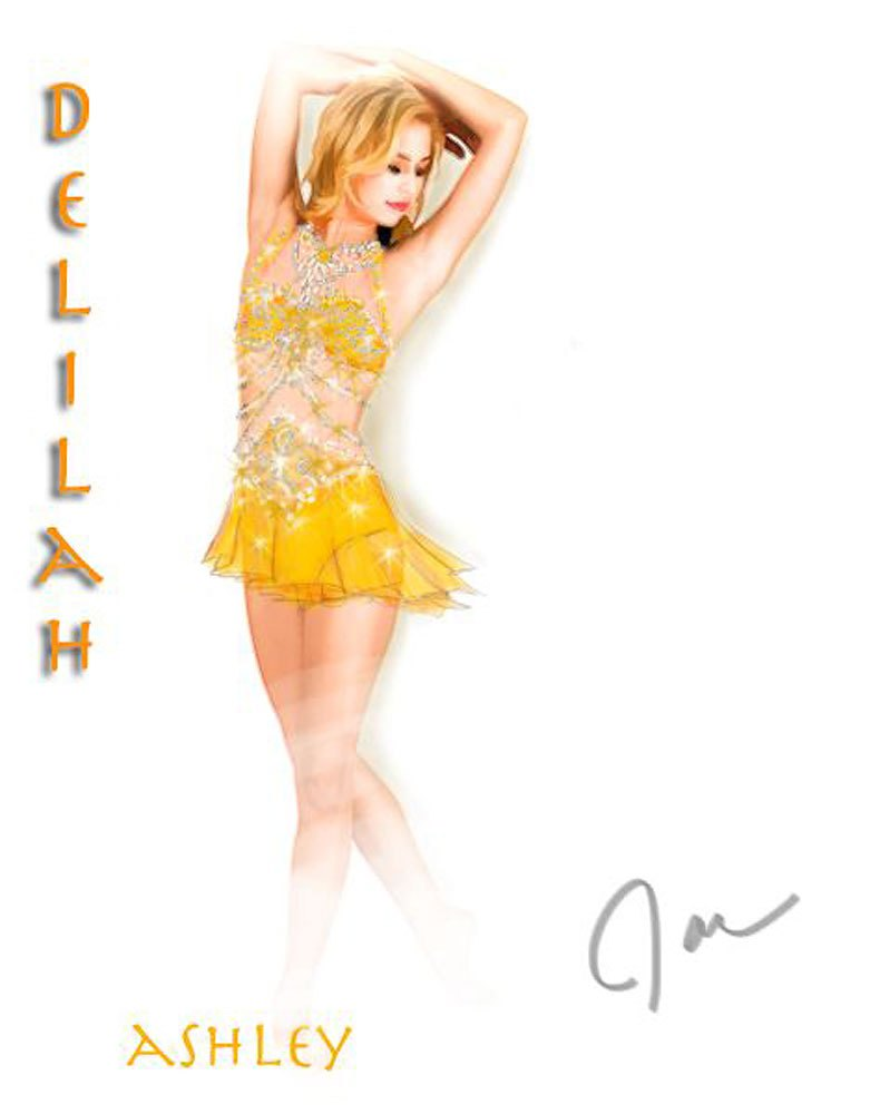 Sketch of U.S. figure skater Ashley Wagner's free program dress, which she commissioned specifically for Sochi