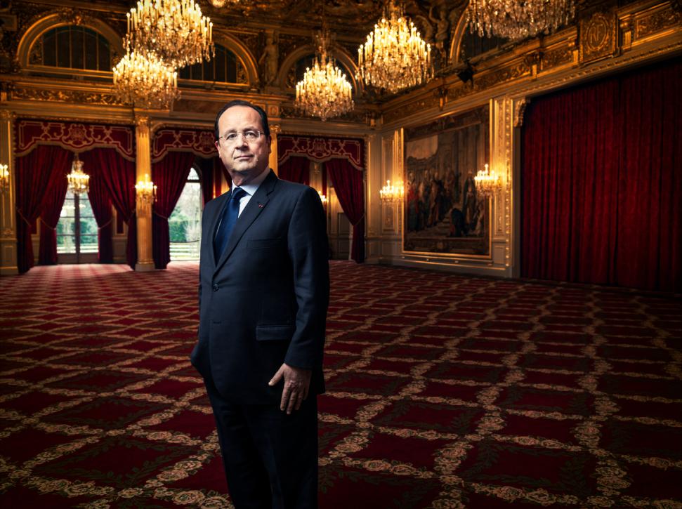 January 2014. President François Hollande in la Salle des Fêtes at the presidential Élysée Palace in Paris.
