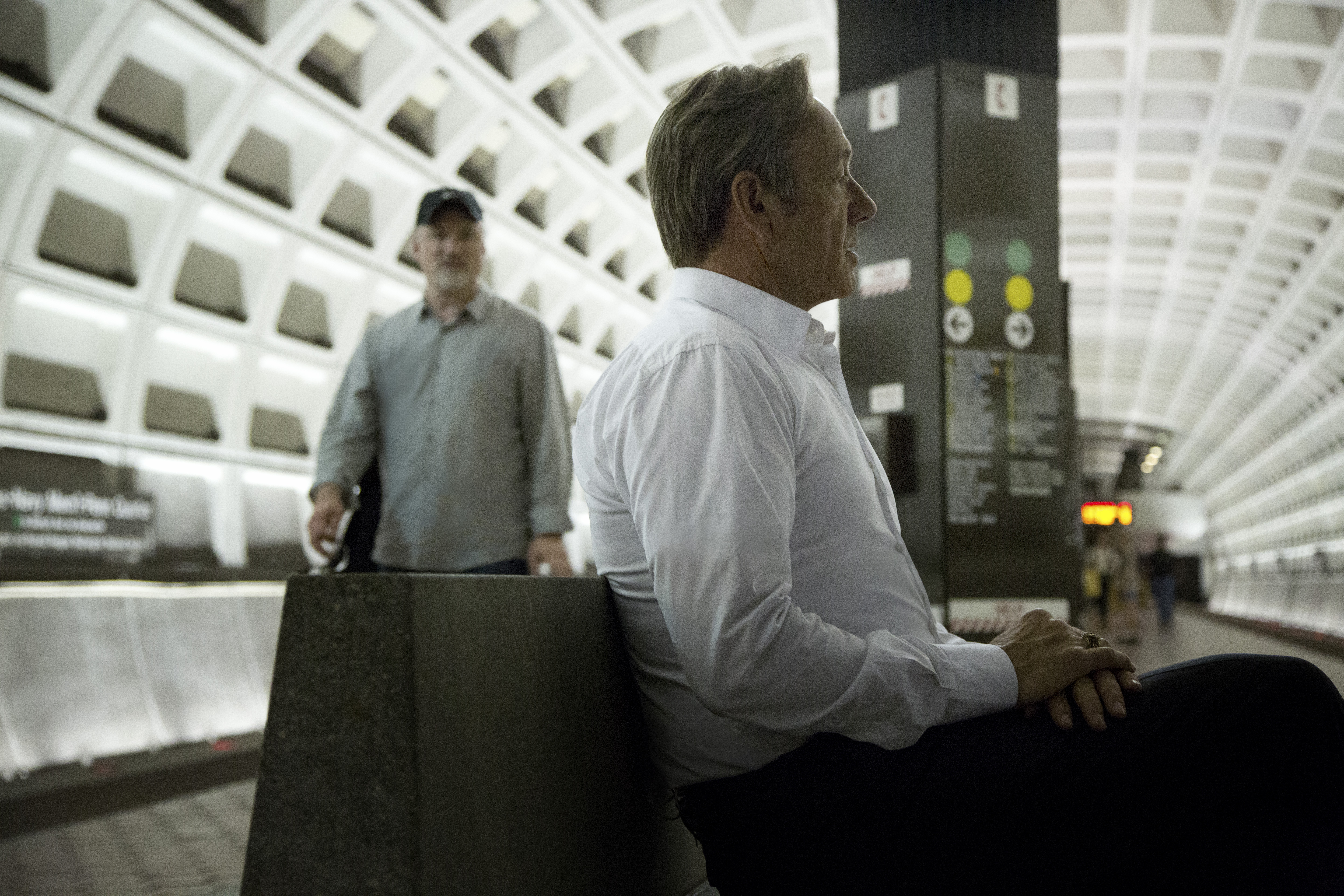 Kevin Spacey, with director-producer David Fincher, on the set of House of Cards.