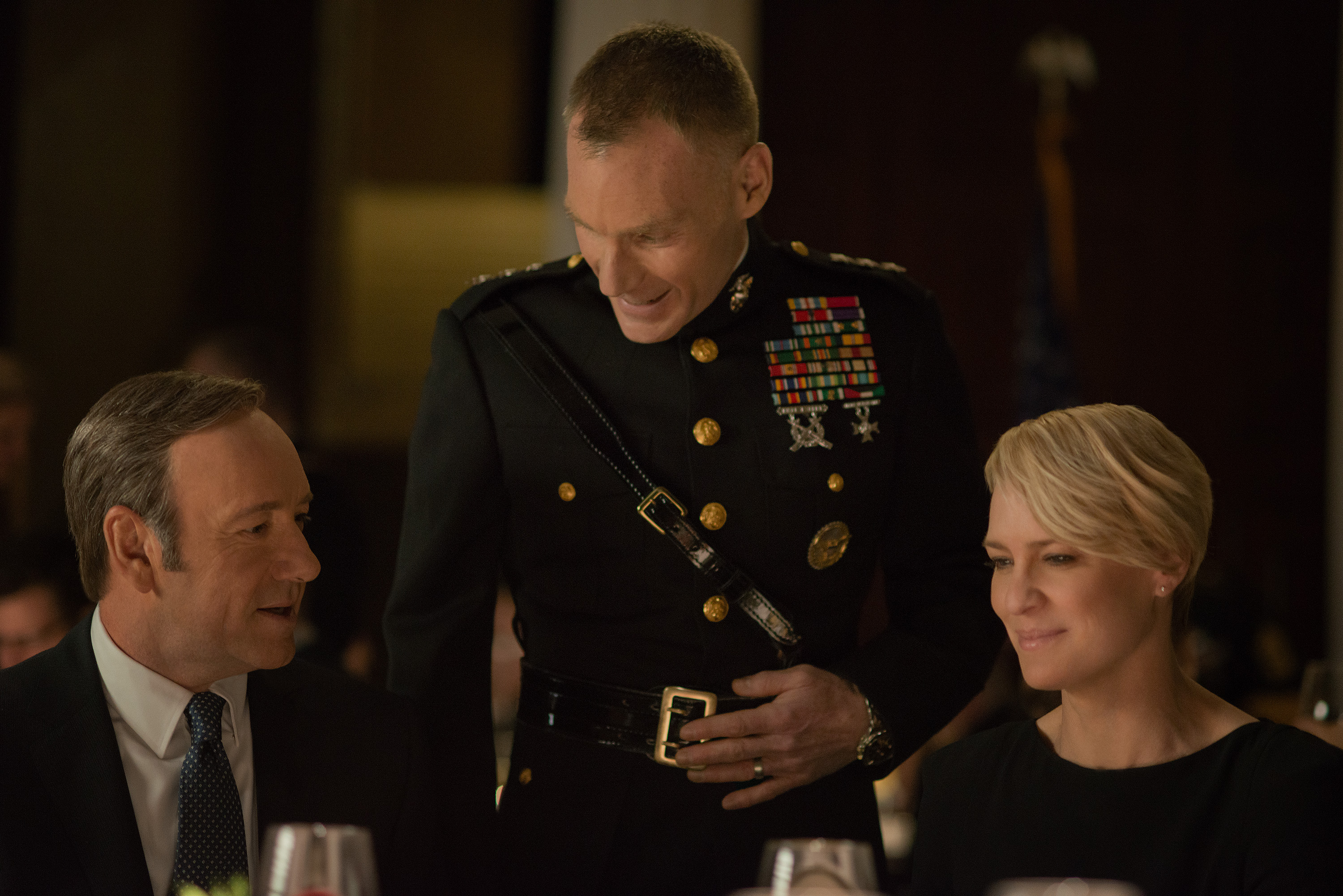 Kevin Spacey (left), Peter Bradbury (center), and Robin Wright in a scene from  House of Cards  Season 2