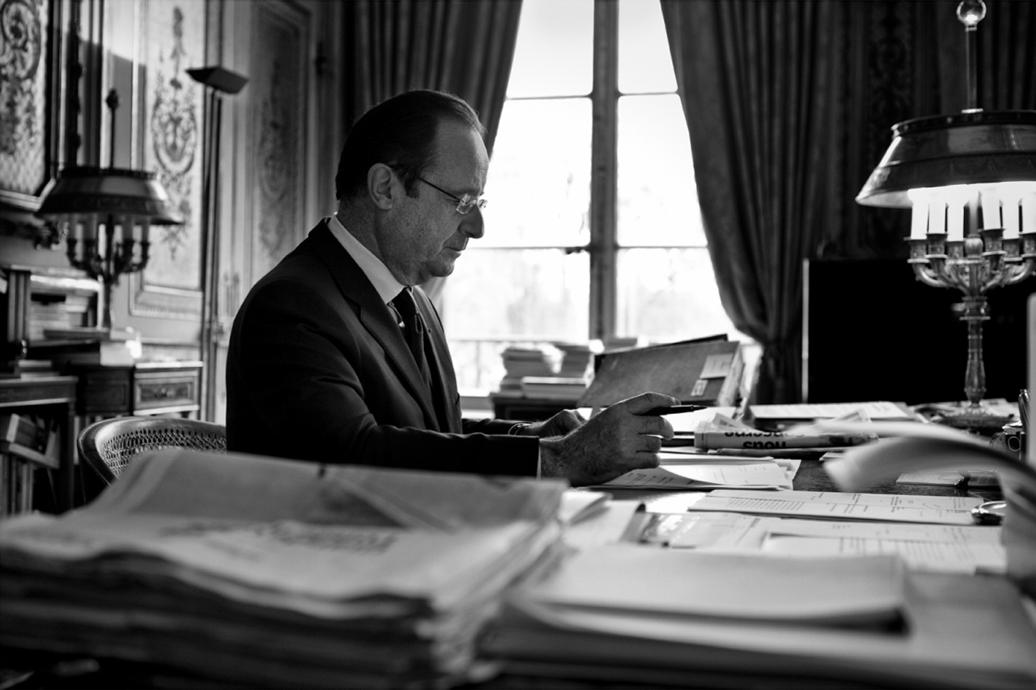 January 2014. President François Hollande in his office at the presidential Élysée Palace in Paris.