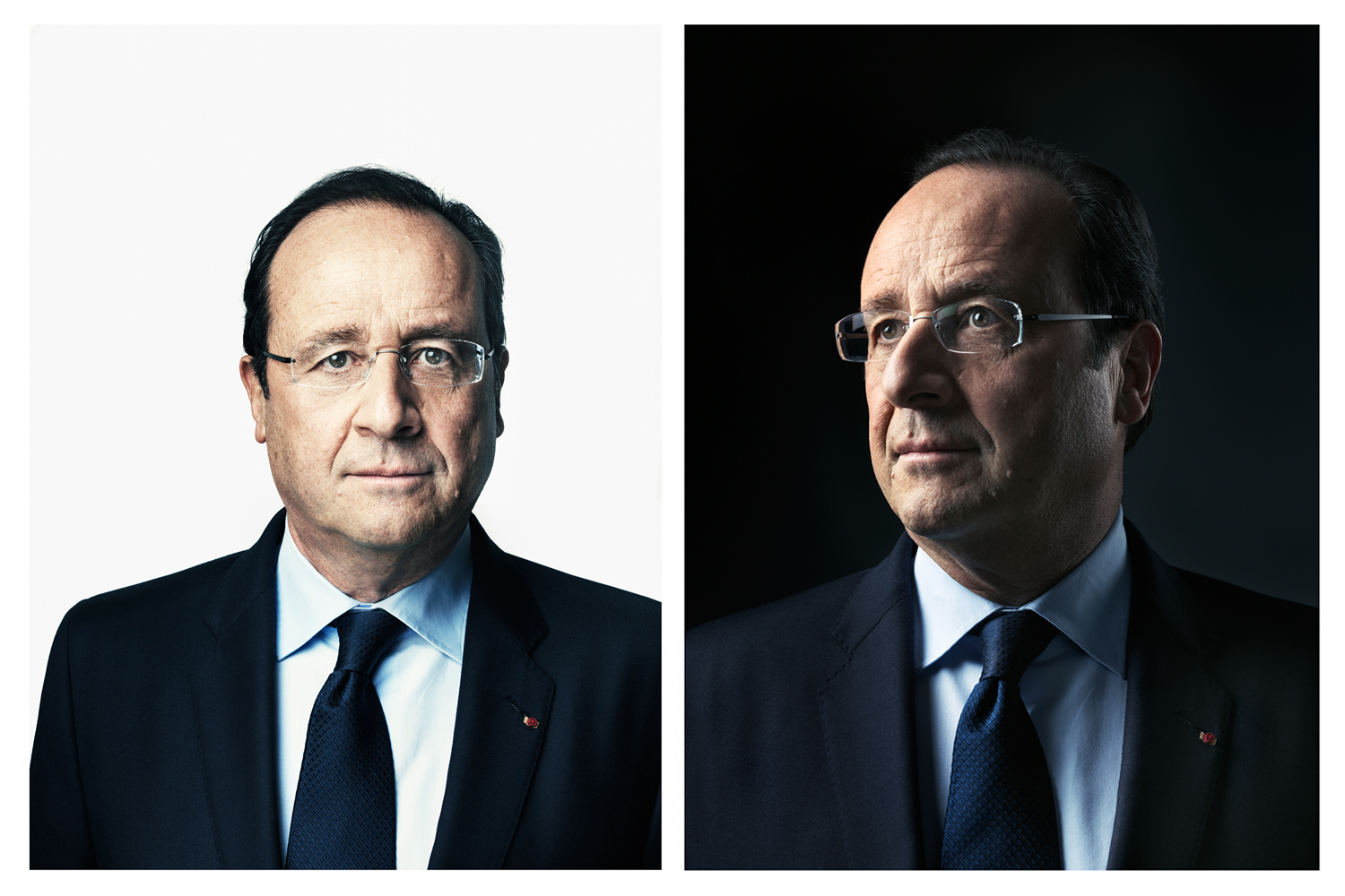 January 2014. Two portraits of France's President François Hollande at the presidential Élysée Palace in Paris.