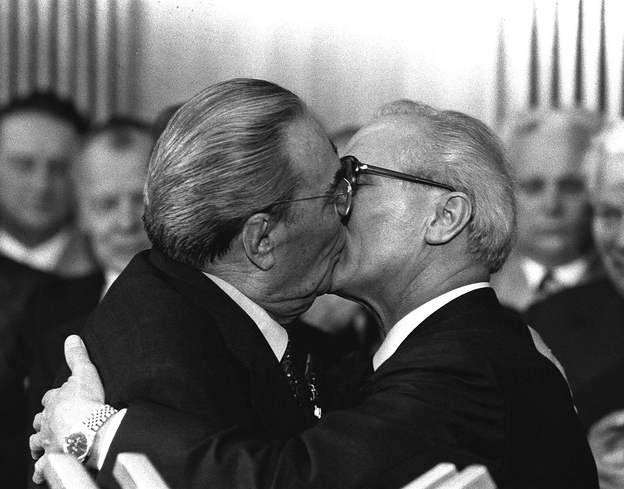 Soviet President Leonid Brezhnev and East German leader Erich Honecker