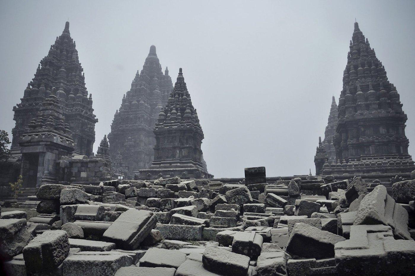 Views of Prambanan Temple covered by volcanic ash from Mount Kelud in Yogyakarta, Indonesia, Feb. 14, 2014.