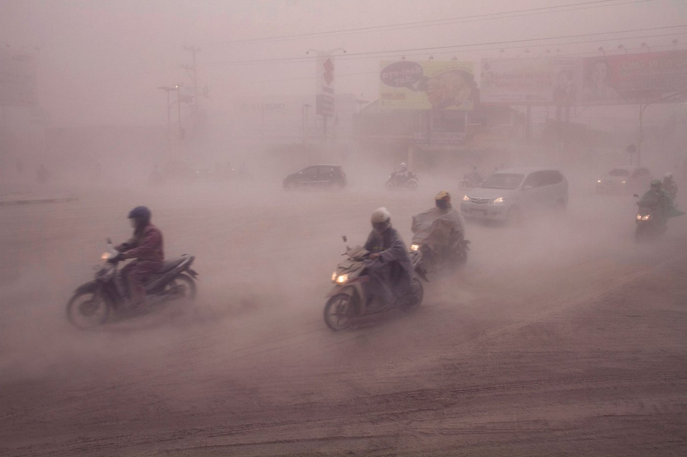 Volcanic ash blankets Yogyakarta in Central Java about 200 kilometers (124 miles) west of the Mount Kelud volcano in East Java province on Feb. 14, 2014.
