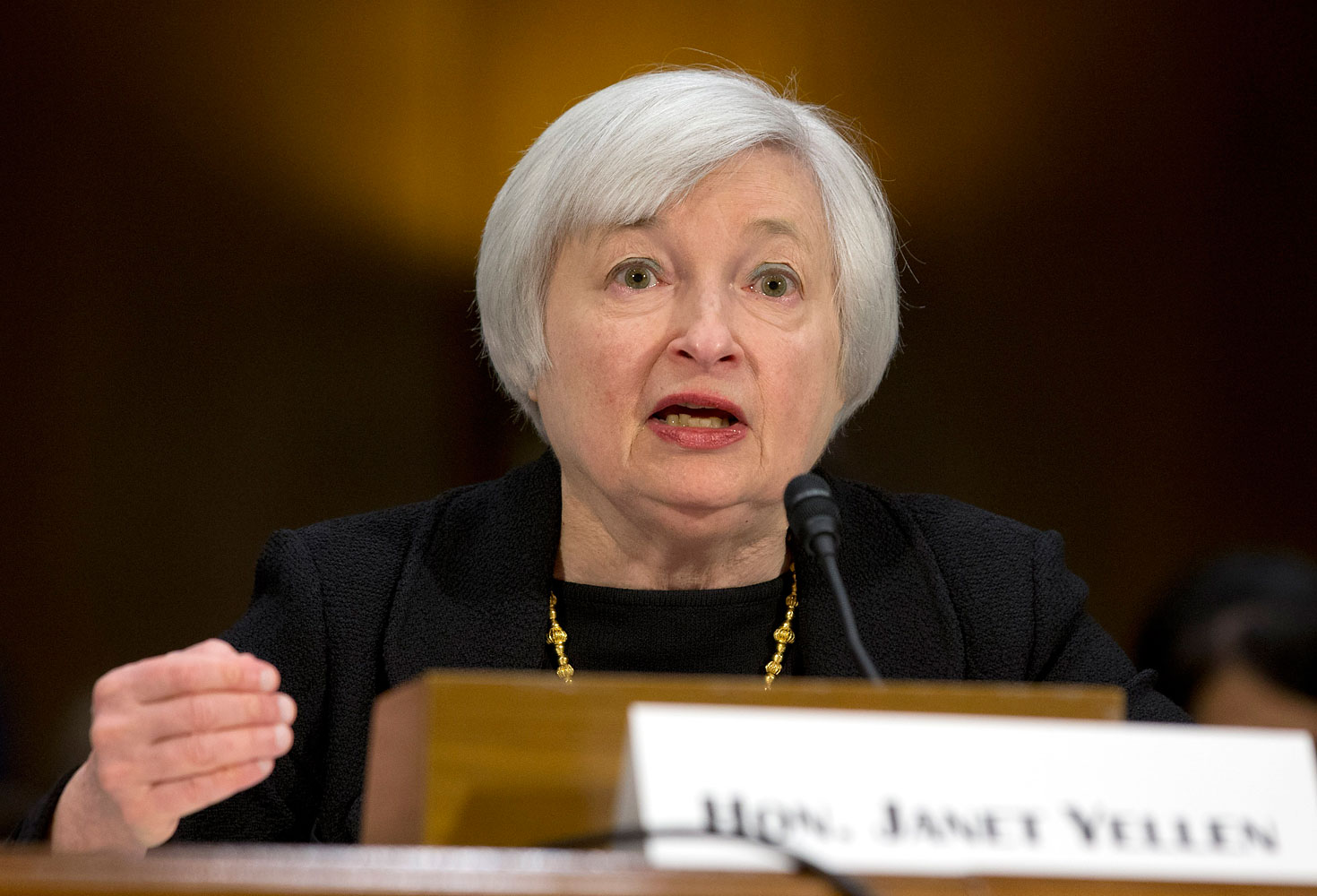 Janet Yellen testifying on Capitol Hill in Washington before the Senate Banking Committee, Nov. 14, 2013..