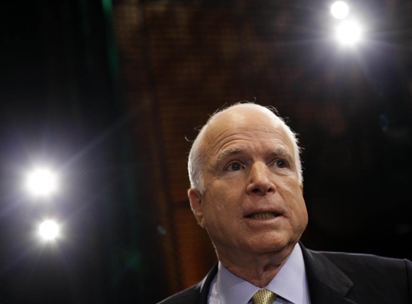 U.S. Senator John McCain (R-AZ) at a town hall event in Mesa, Arizona August 27, 2013.