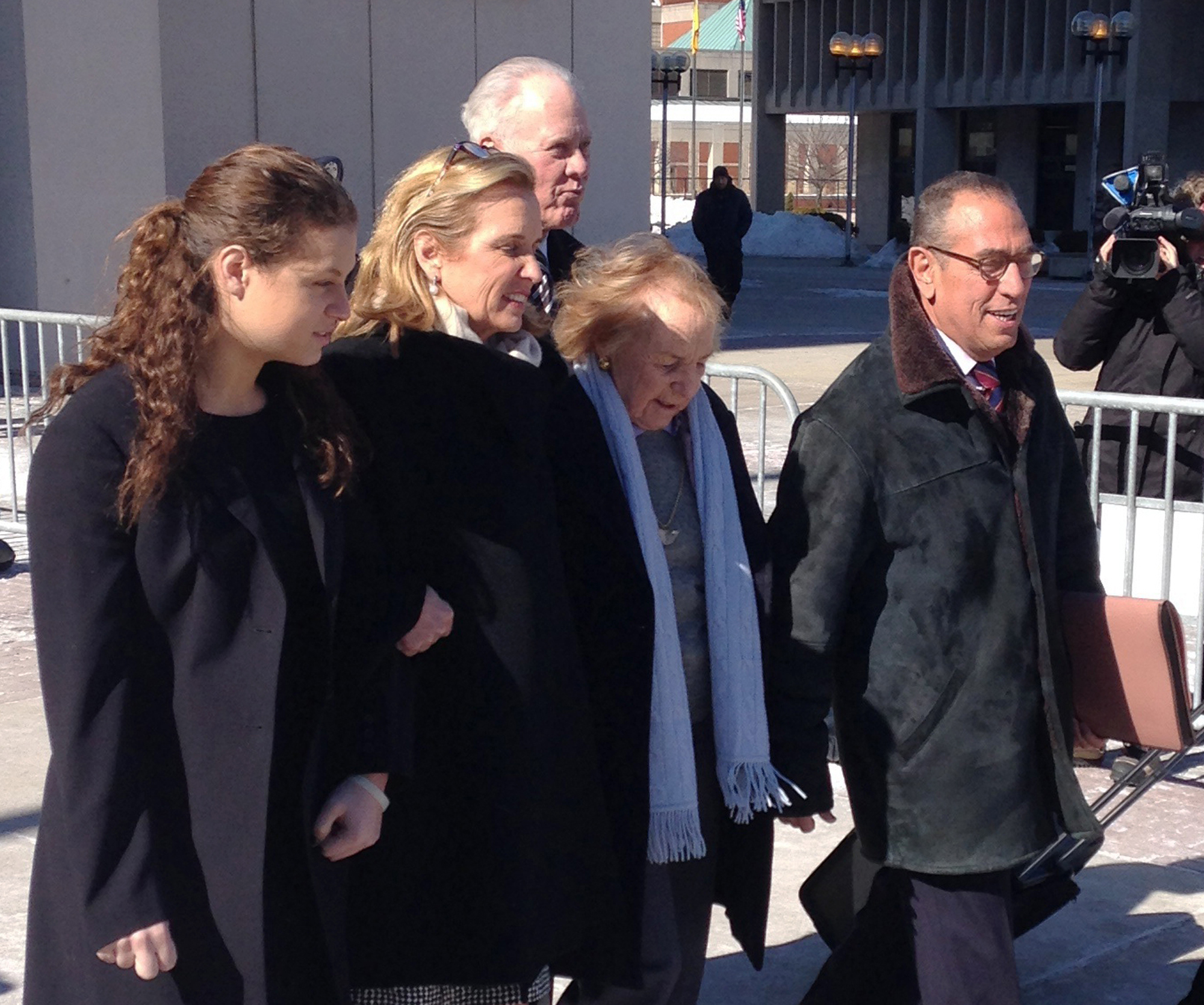 Kerry Kennedy, second from left, walks with her mother, Ethel Kennedy, third from left, as she leaves the Westchester County Courthouse, Friday, Feb. 28, 2014 in White Plains, N.Y.