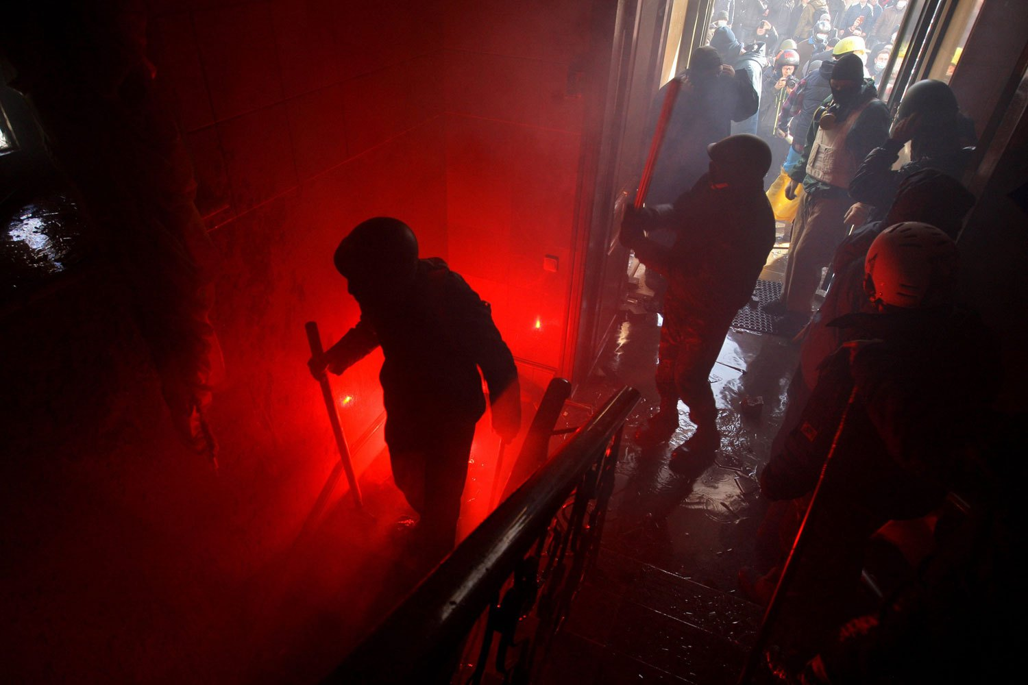 Protesters take over the main office of the ruling Ukrainian 'Party of Regions' political party in downtown Kiev, on Feb. 18, 2014.