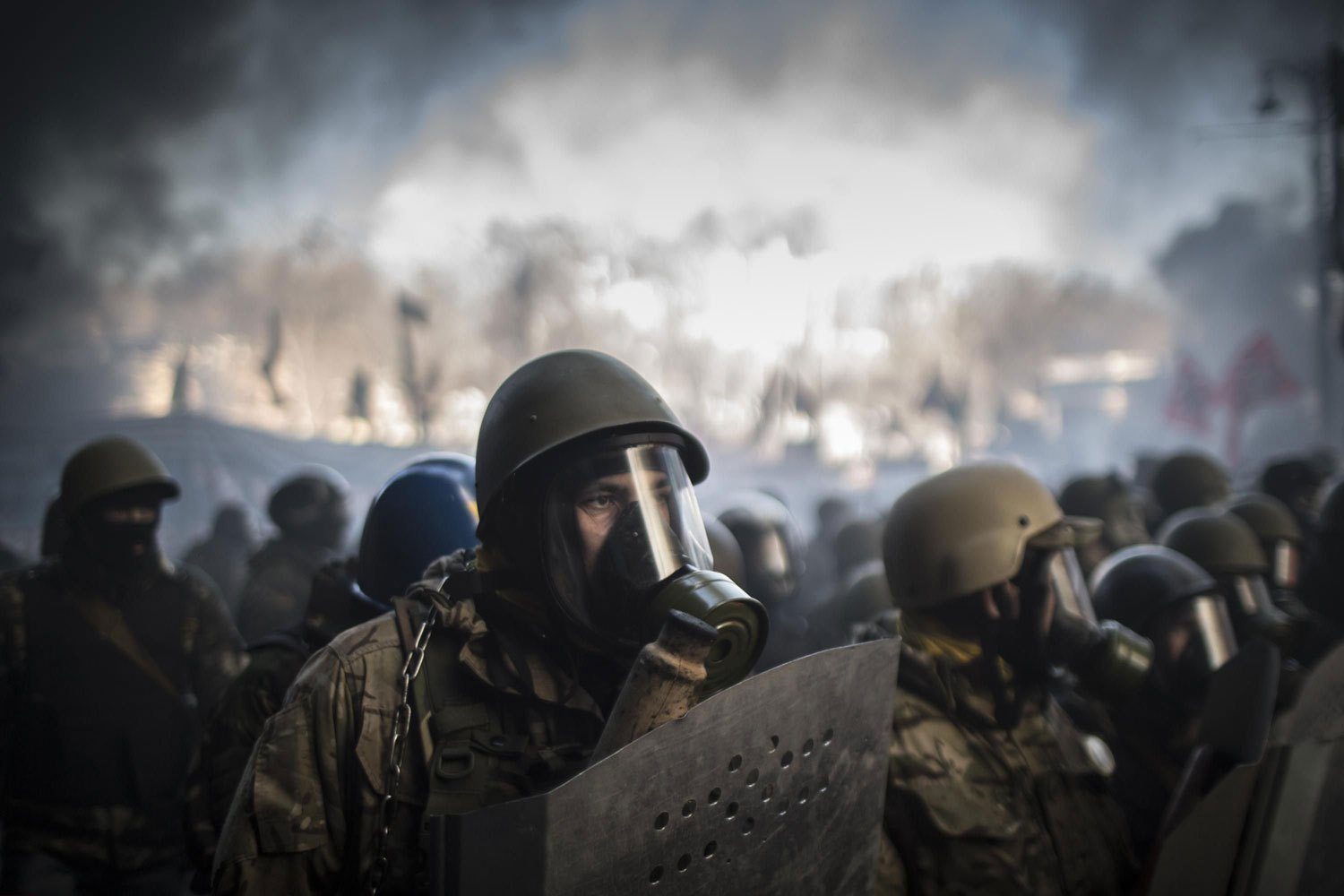 Protesters are ready to storm Kiev city hall as Maidan self-defence activists guard the building to prevent it during their confrontation in Kiev, on Feb. 18, 2014.