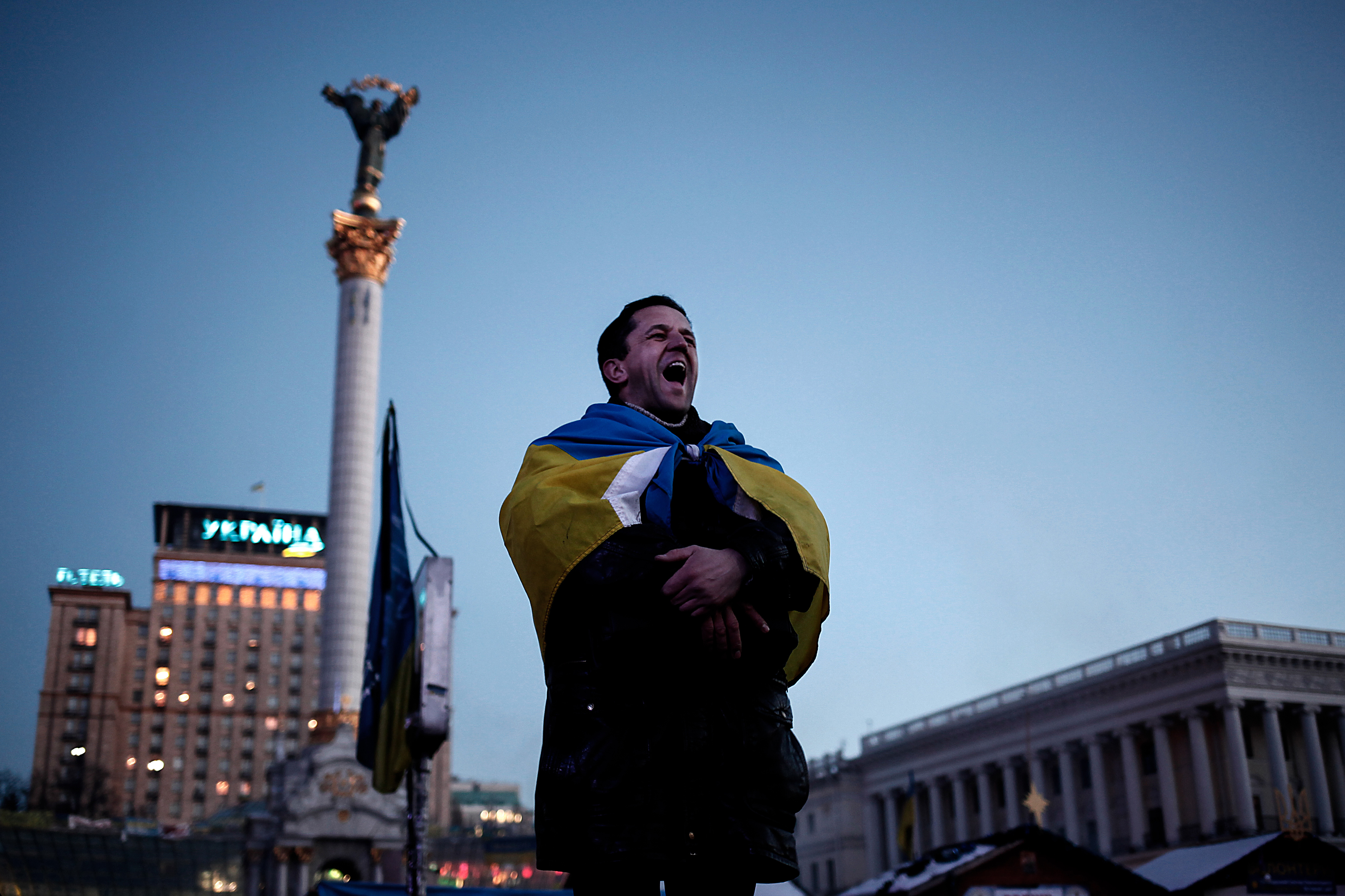An anti-government protester shouts slogans at Kiev's Maidan square on  Feb. 4, 2014.
