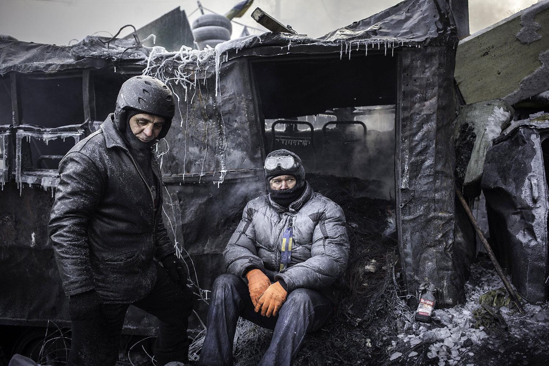 Protesters behind barricades in Kiev, Jan. 25, 2014.