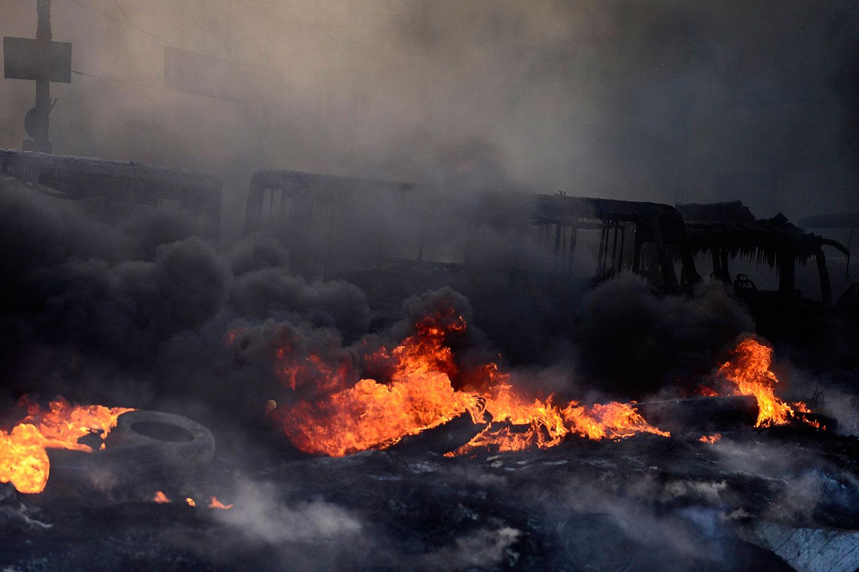 Burning tires in Kiev,  Jan. 23, 2014.