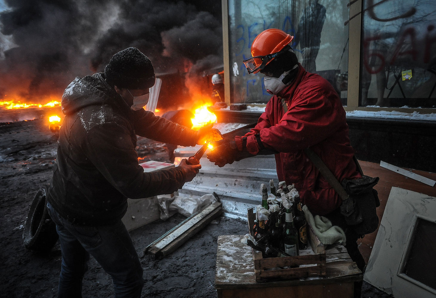 Pro-European protesters with a Molotov cocktail in Kiev, Jan. 22, 2014.