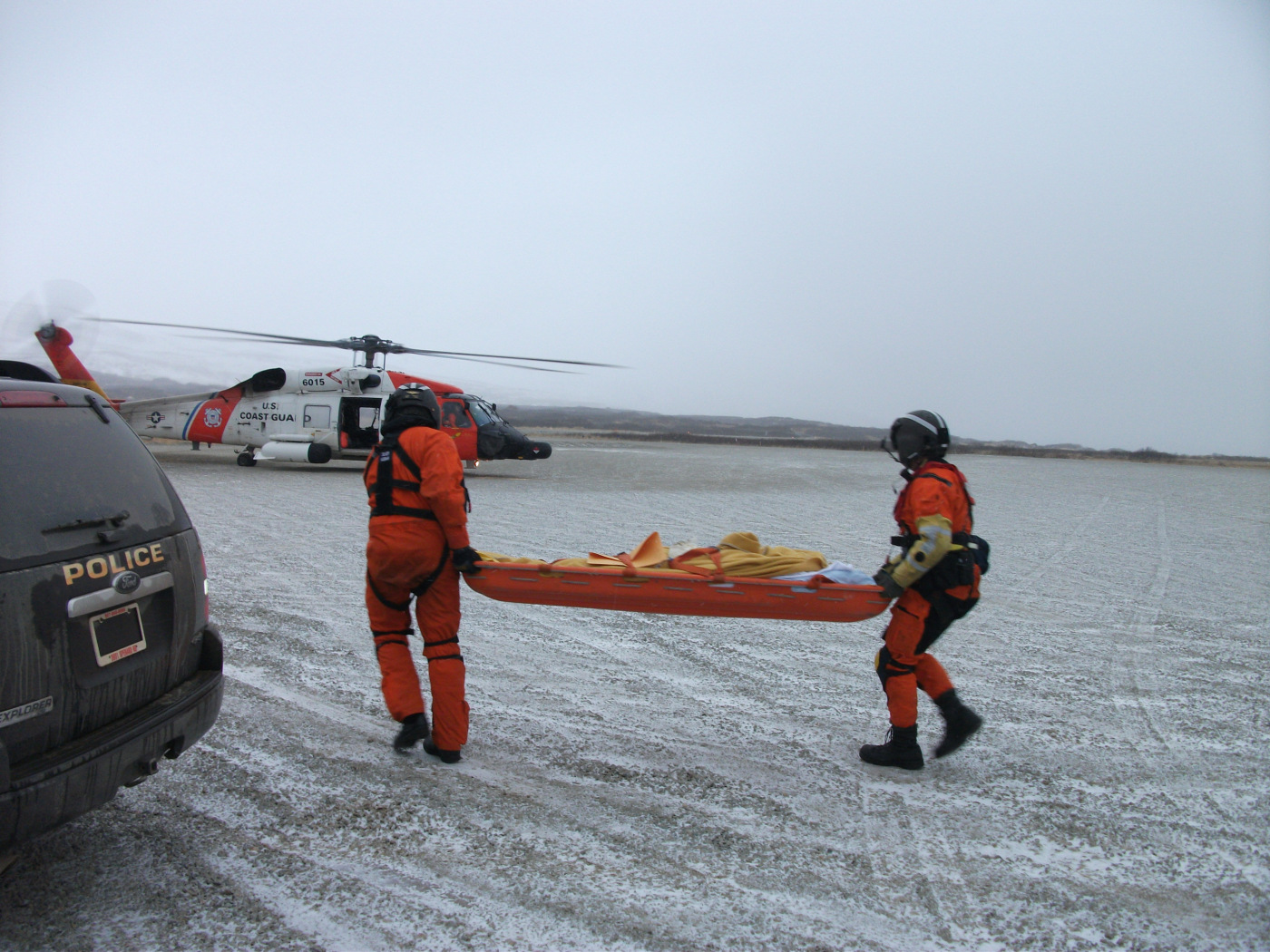 An emergency medical evacuation at the King Cove airstrip.