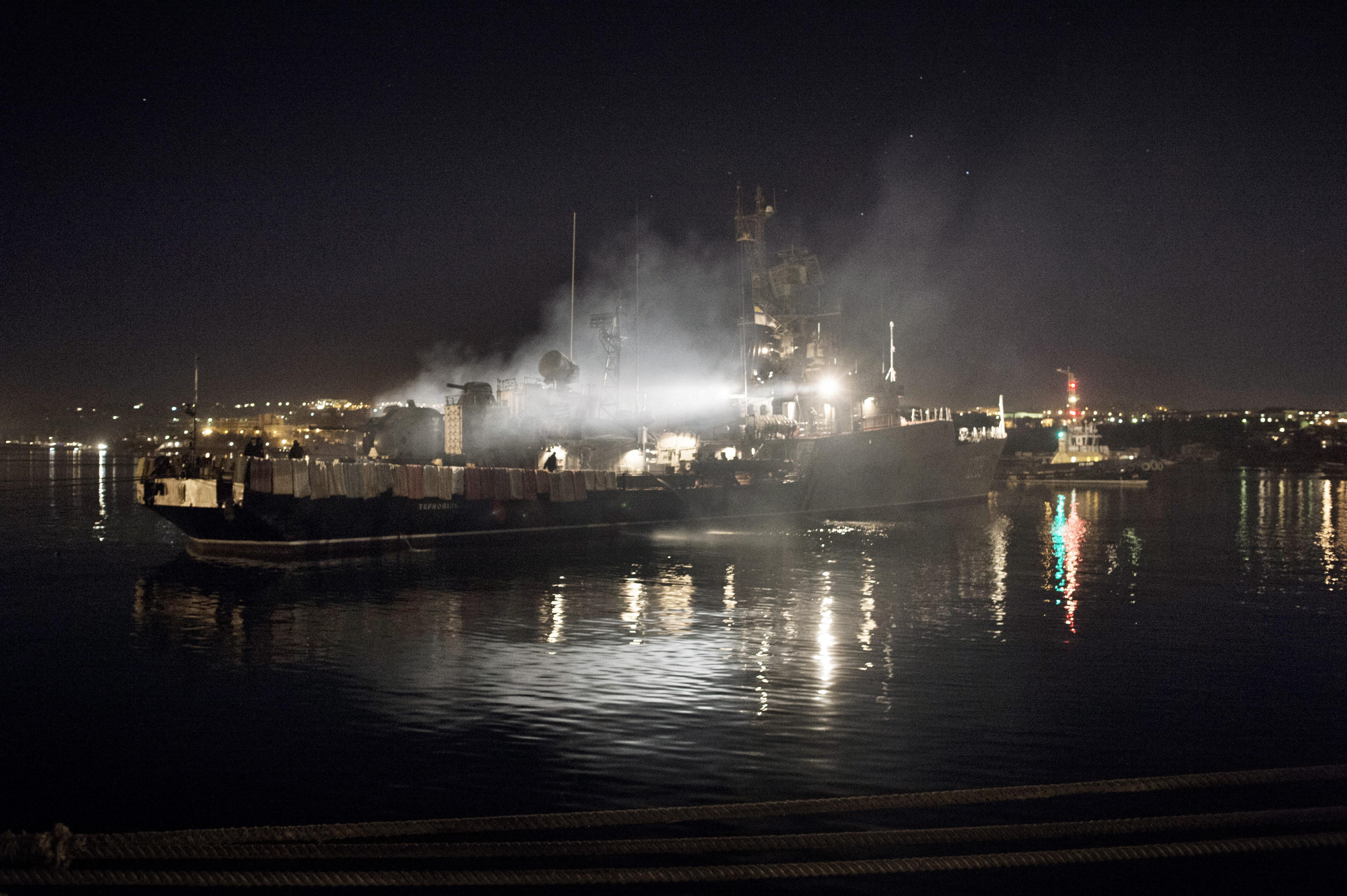Sailors  stand on board the Ukrainian navy corvette Ternopil at harbor of Sevastopol, March 3, 2014.