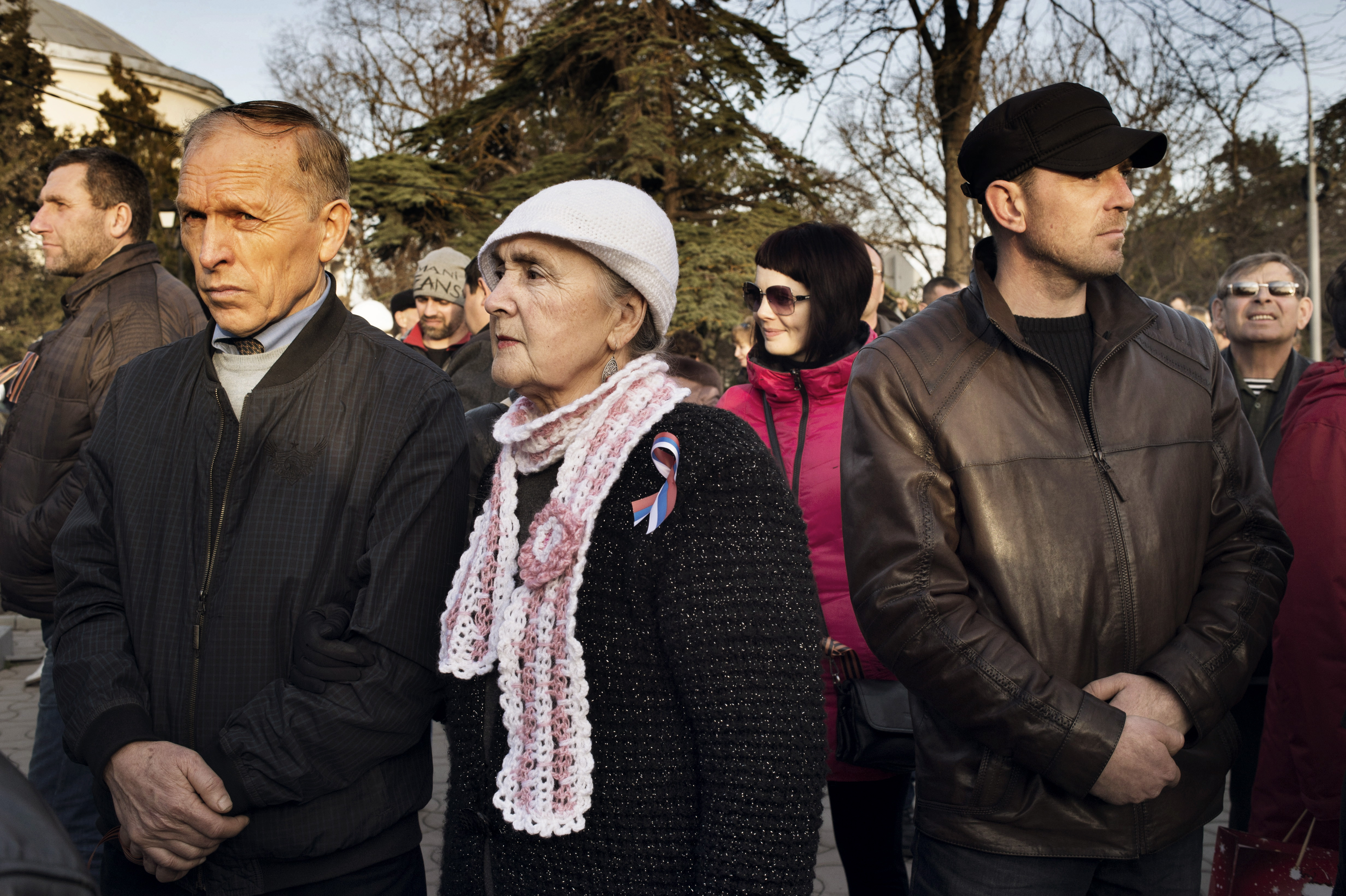 People at a pro-Russian gathering in Yevpatoria, Ukraine, March 5, 2014.