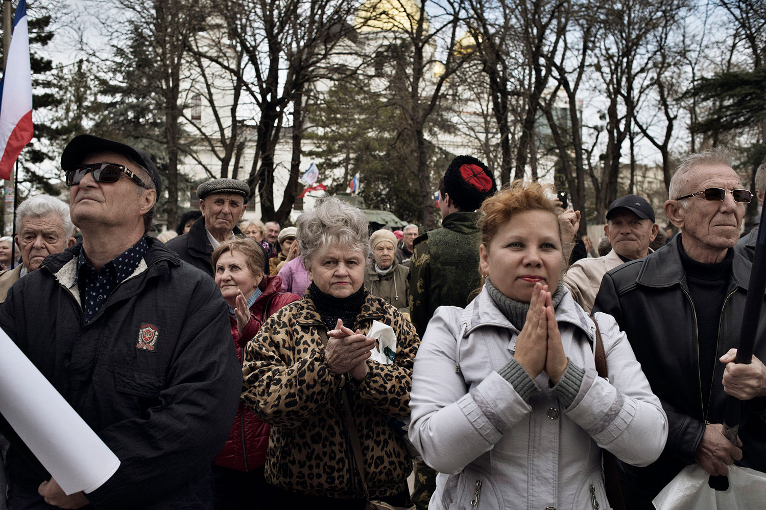 Pro-Russian demonstrators rally in front of the local parliament building in Crimea's capital Simferopol, March 6, 2014.