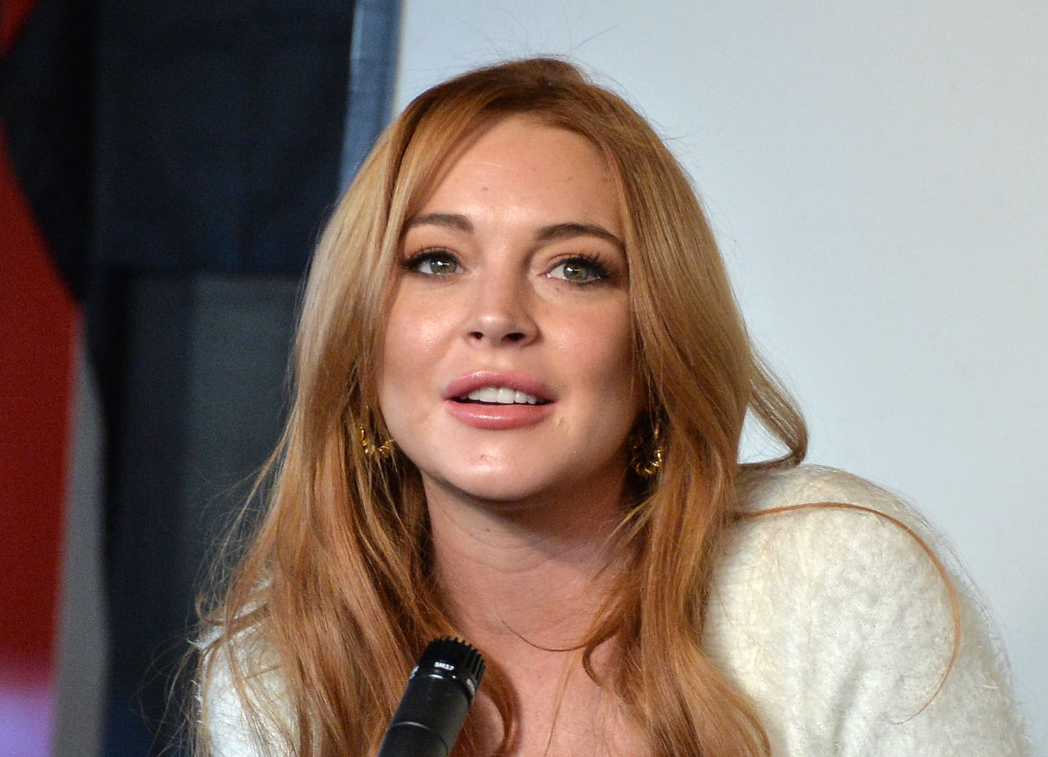 Actress Lindsay Lohan speaks at a press conference on Jan. 20, 2014 in Park City, Utah.