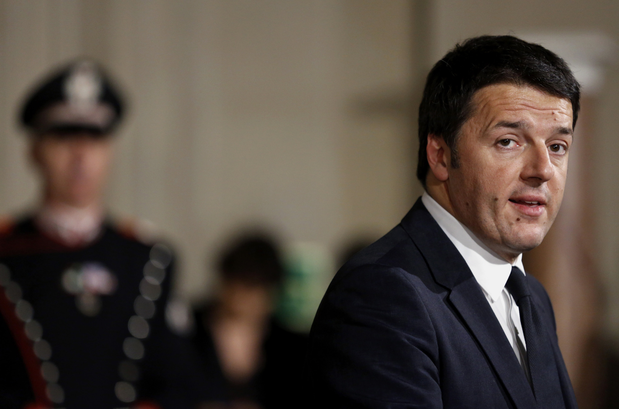 Matteo Renzi, Italy's incoming prime minister, speaks during a news conference to announce the names of the cabinet ministers that will form Italy's new government on Friday, Feb. 21, 2014.