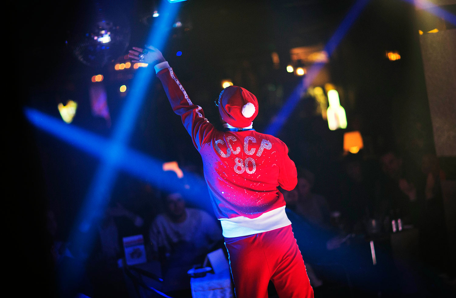 Veranda, who would only his stage name,  performs at the Mayak cabaret in Sochi, Feb. 8 2014.