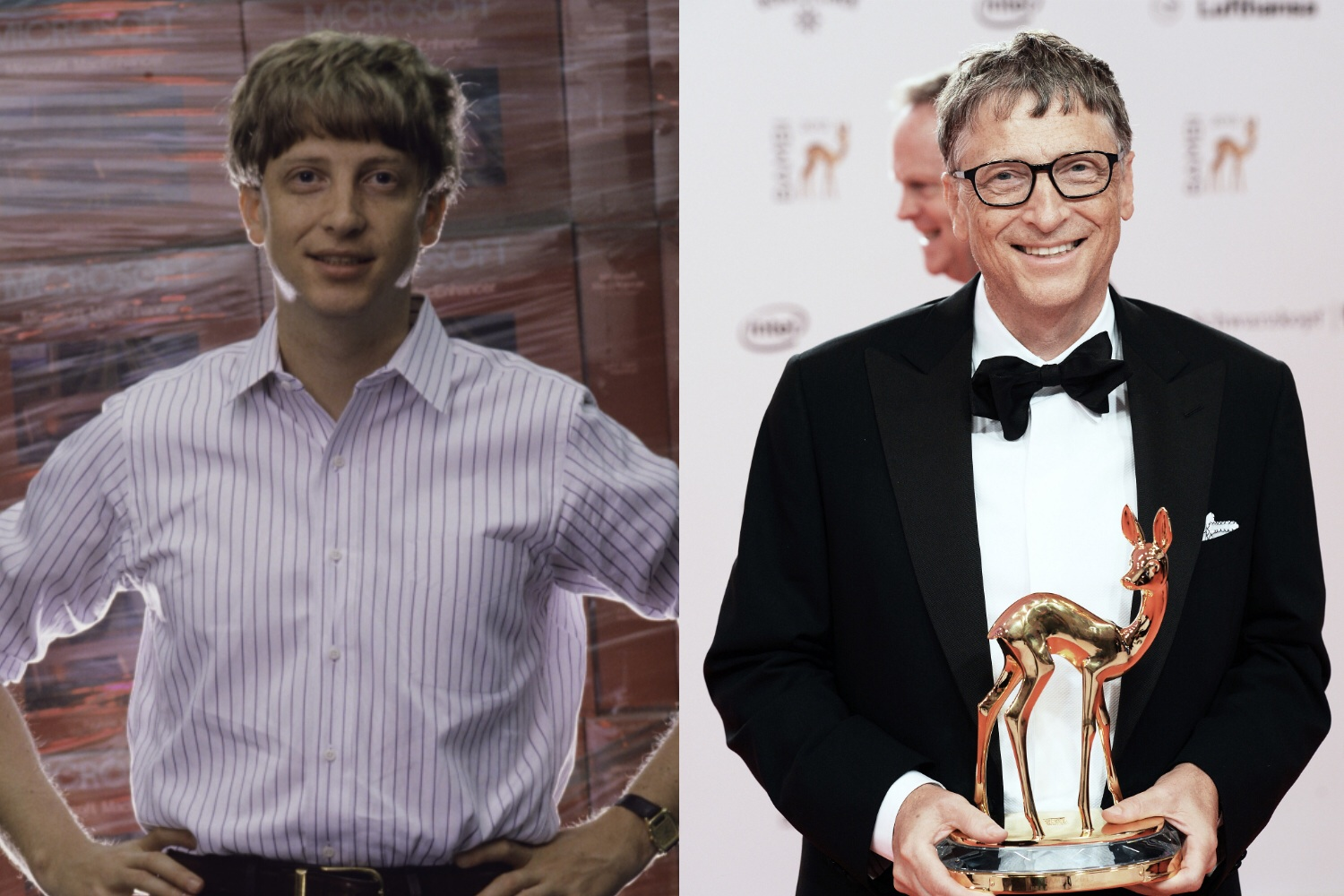 Bill Gates surrounded by copies of Windows in 1986 and in November, accepting the Bambi Award in Berlin.